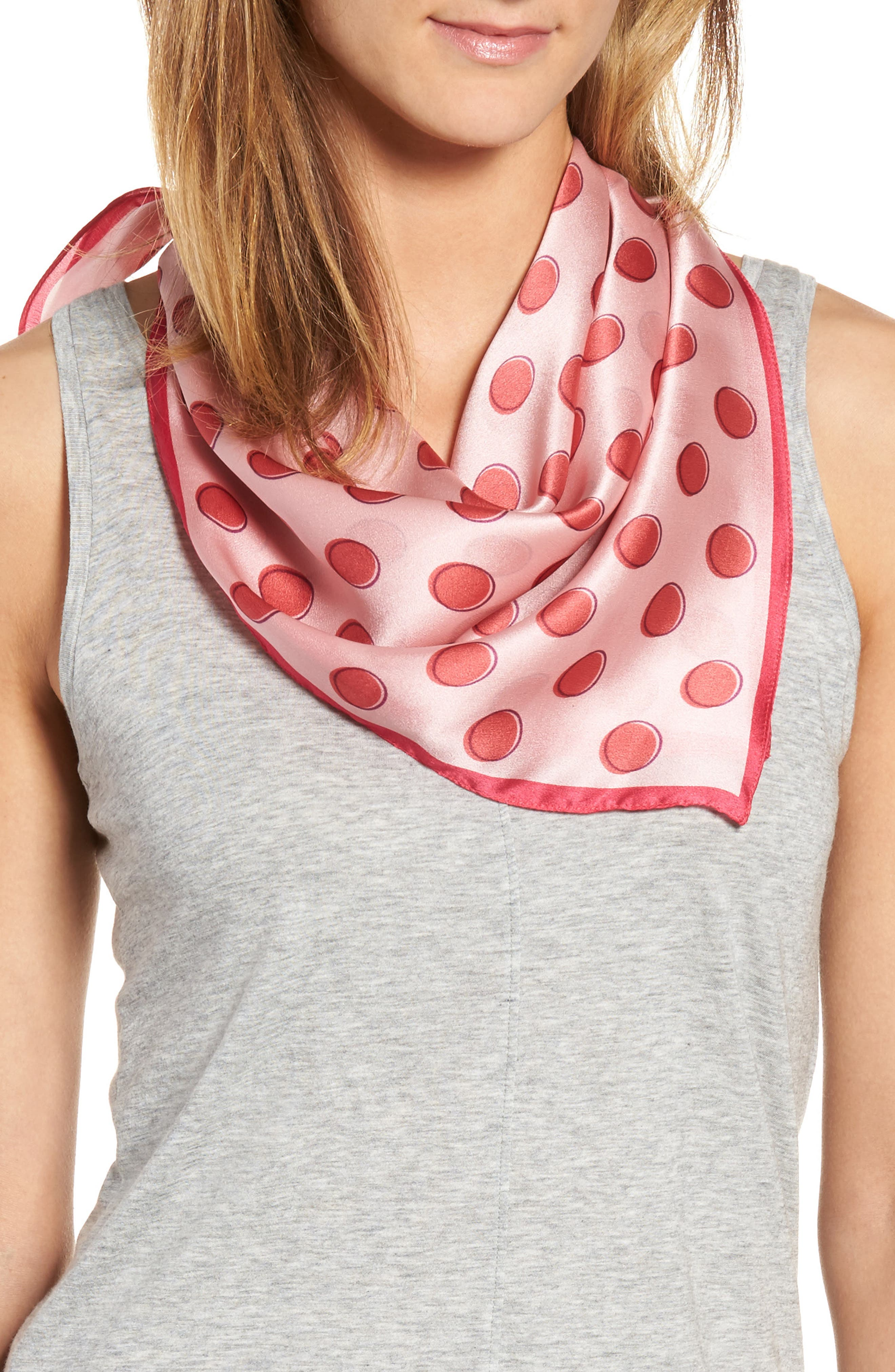 Shadow Dot Silk Square Scarf,                         Main,                         color, Pink Combo