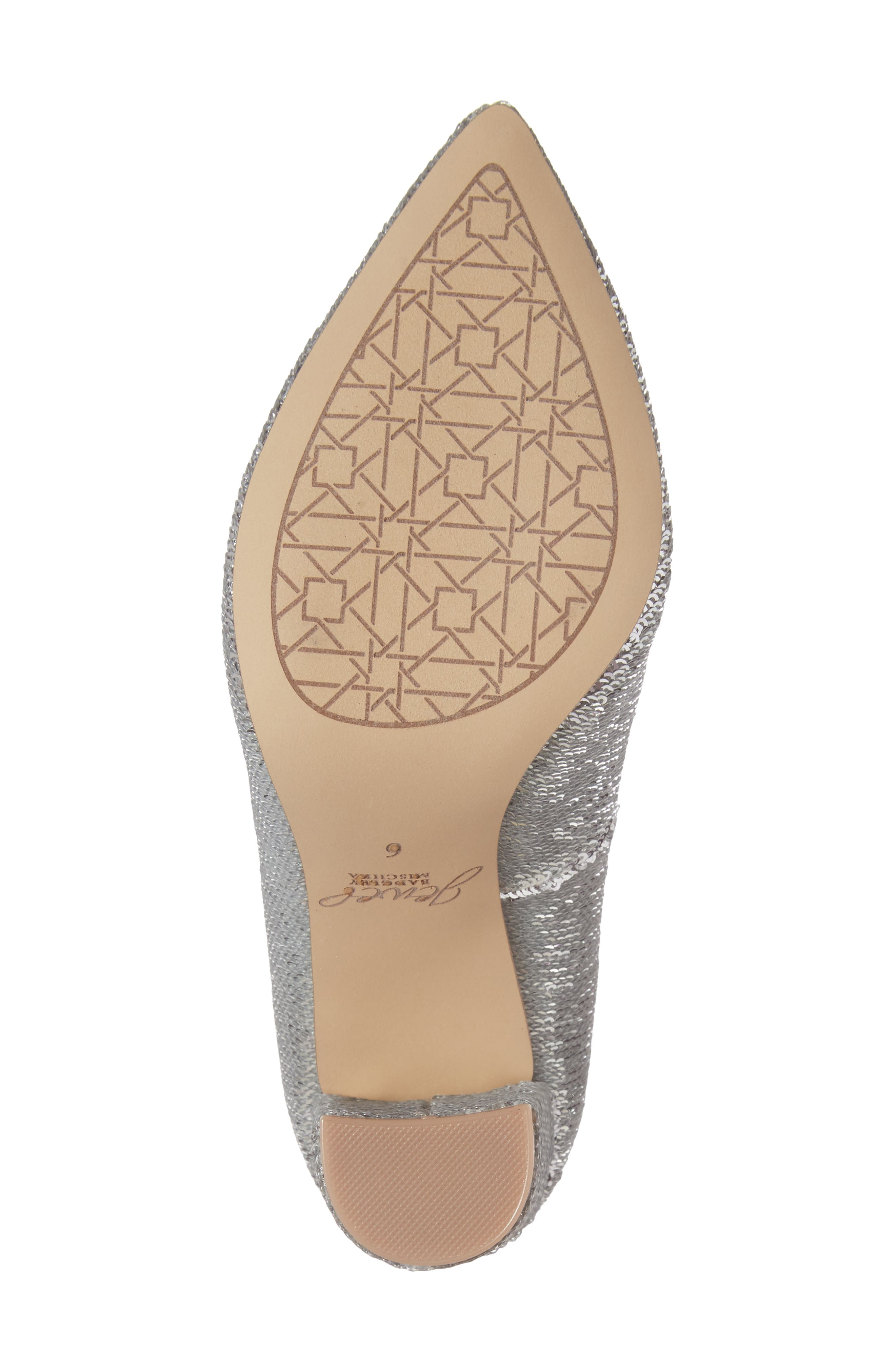 Luxury Pointy Toe Pump,                             Alternate thumbnail 6, color,                             Silver Leather