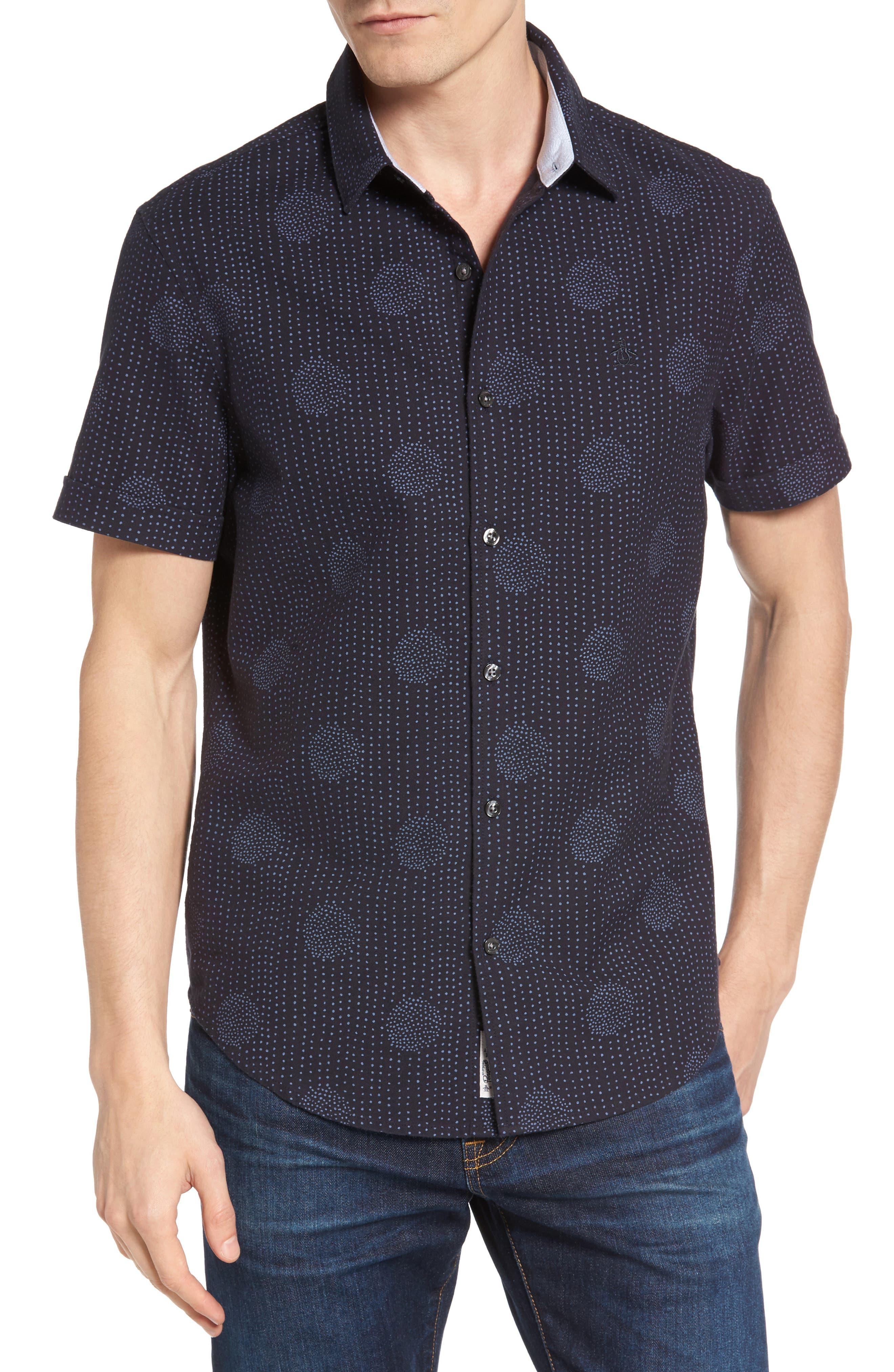 Heritage Slim Fit Dot Print Shirt,                             Main thumbnail 1, color,                             Dark Sapphire