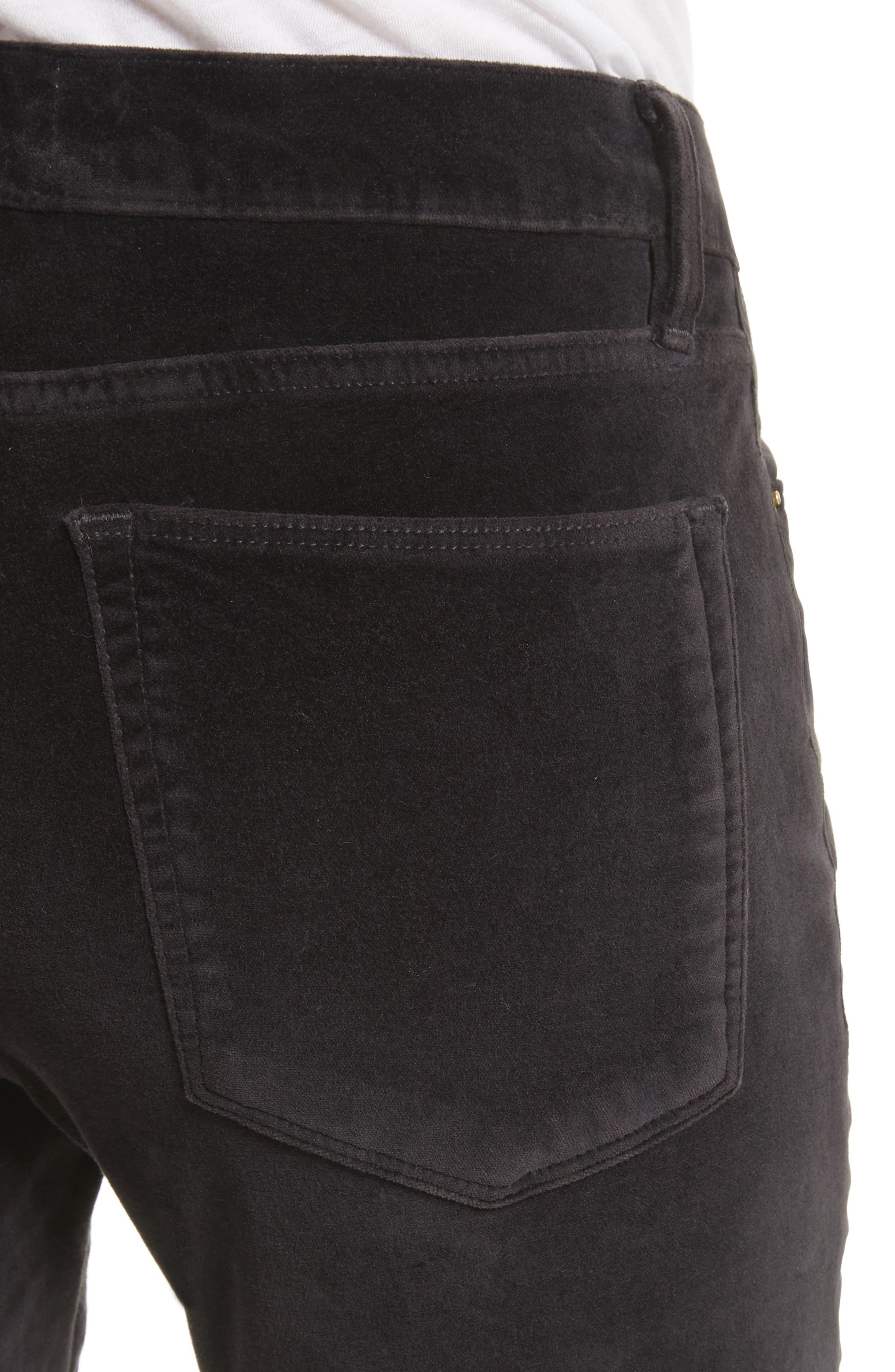 Velveteen High Waist Skinny Pants,                             Alternate thumbnail 5, color,                             Charcoal