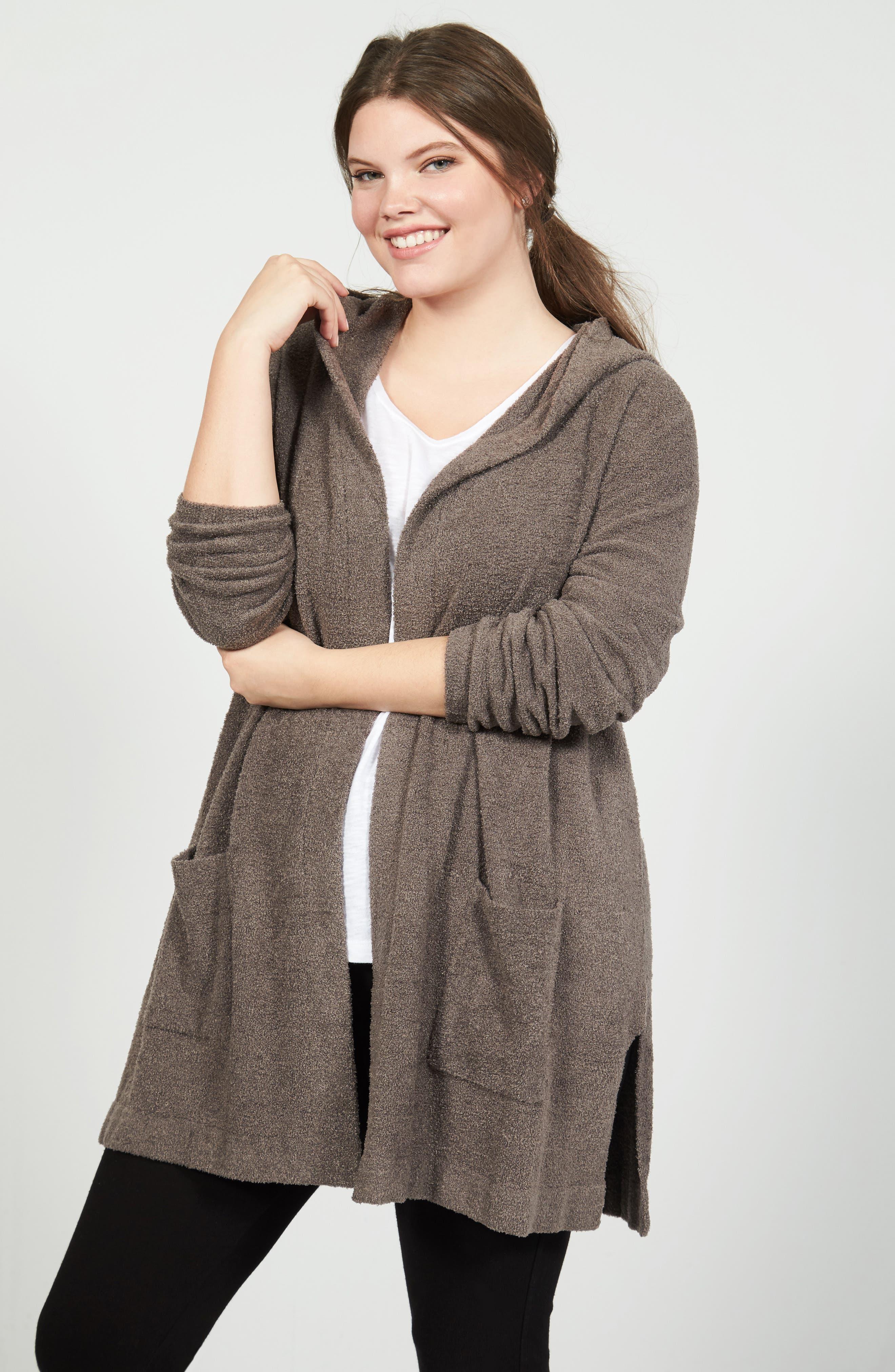Alternate Image 7  - Barefoot Dreams® Cozychic Lite® Coastal Hooded Cardigan (Plus Size)