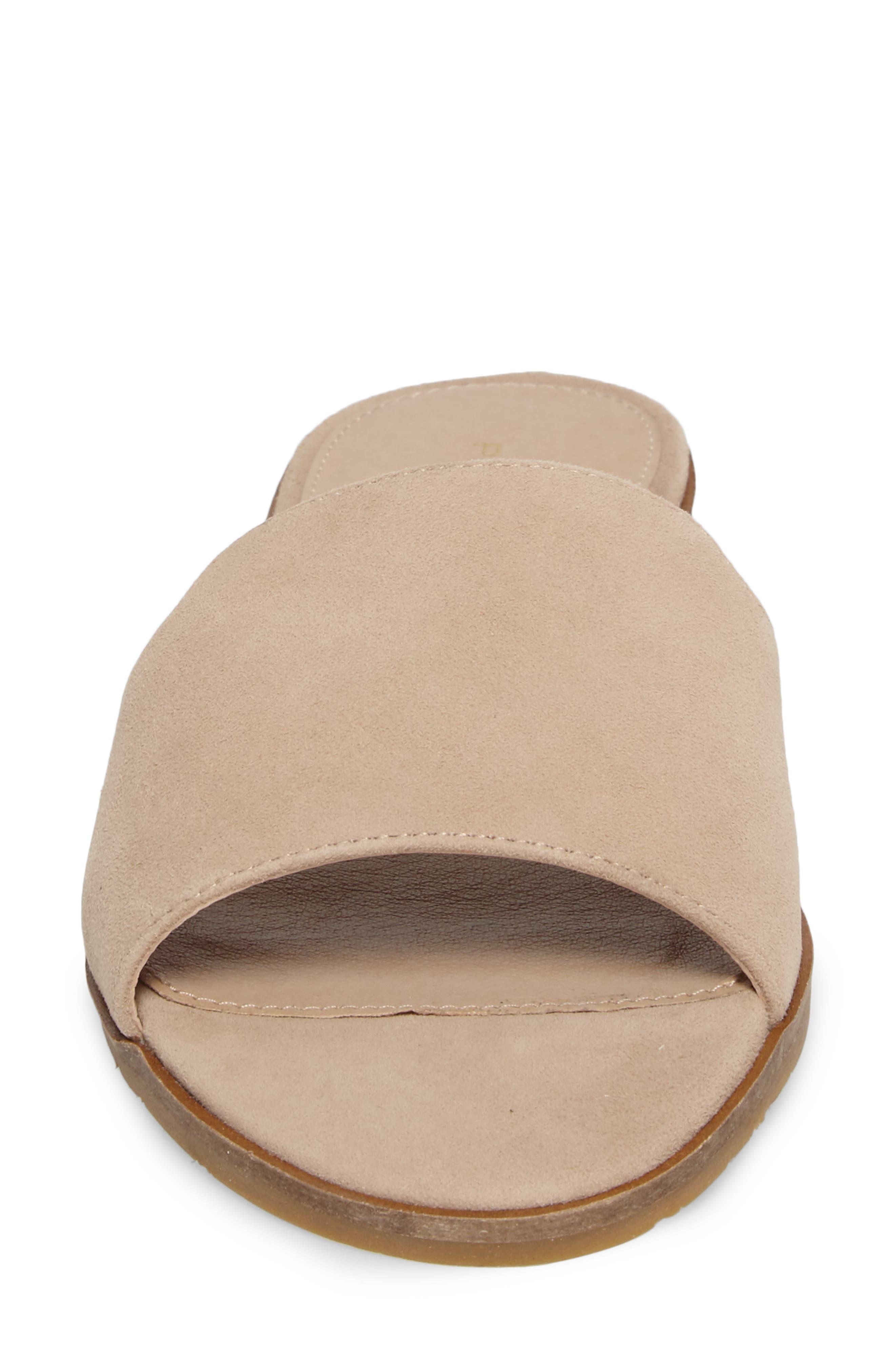 Hailey Slide Sandal,                             Alternate thumbnail 4, color,                             Sand Leather