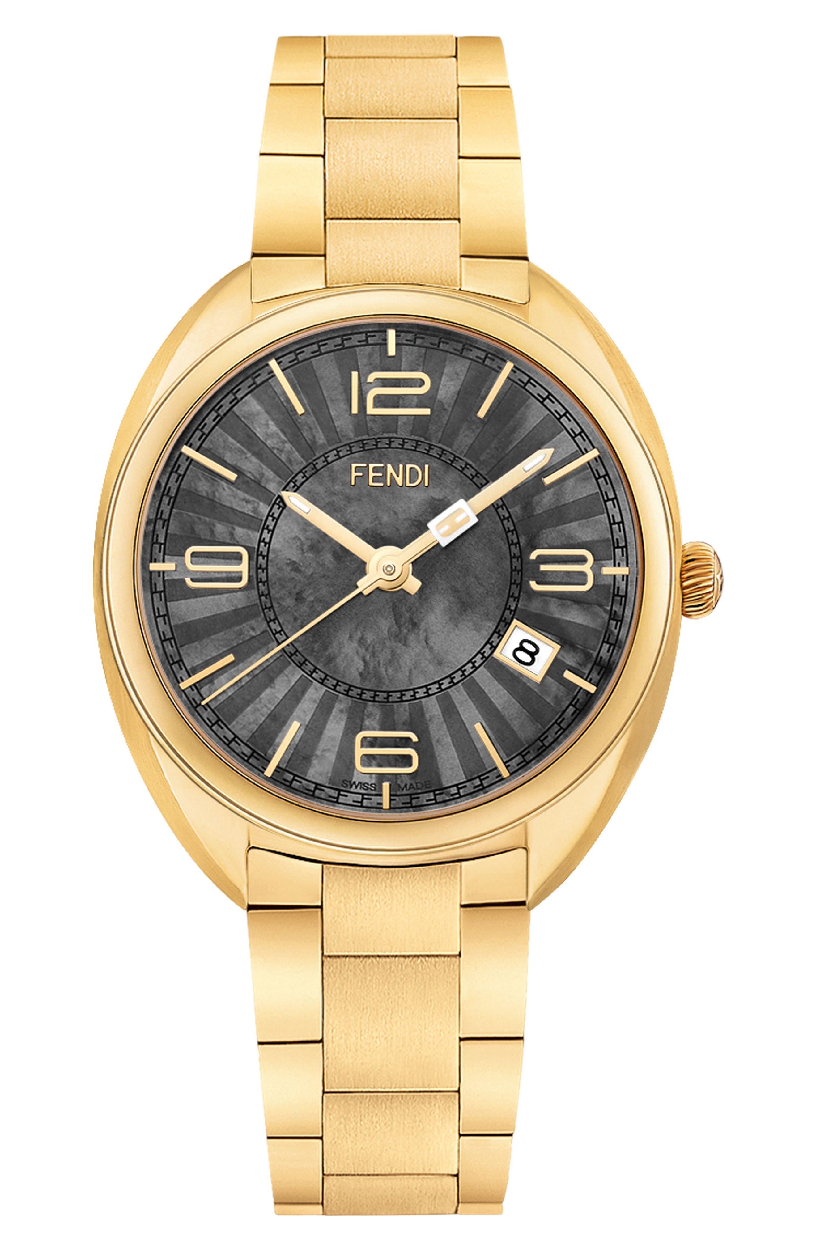 Main Image - Fendi Momento Mother of Pearl Bracelet Watch, 34mm