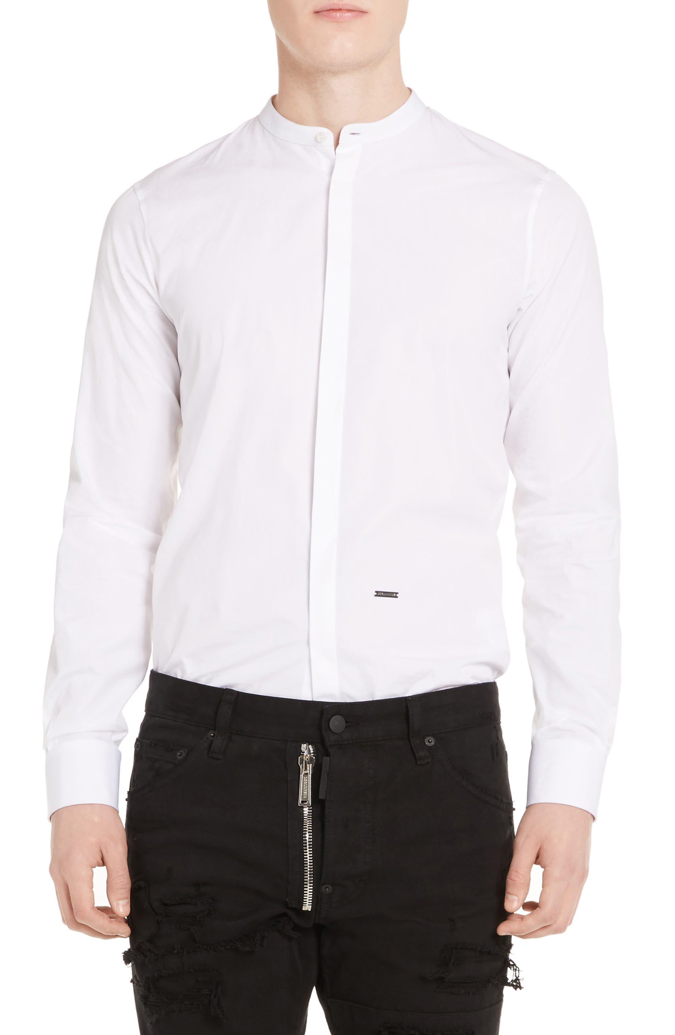 Band Collar Poplin Shirt,                         Main,                         color, White