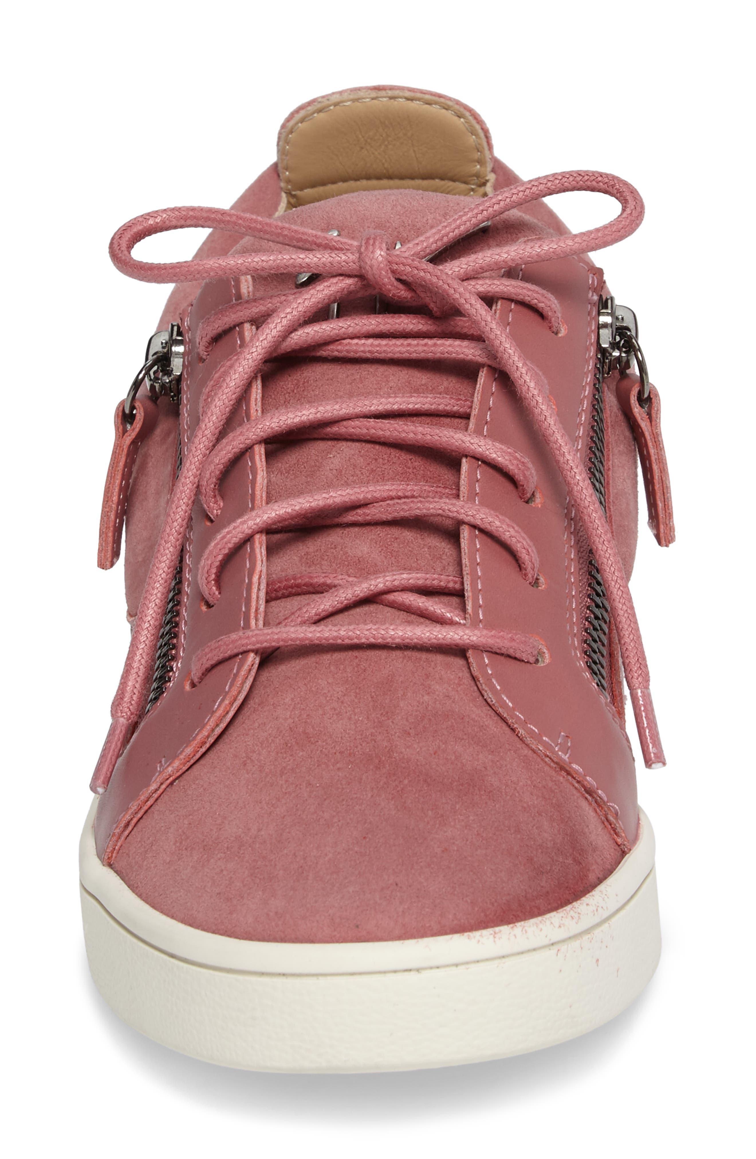 Low Top Zip Sneaker,                             Alternate thumbnail 4, color,                             Pink