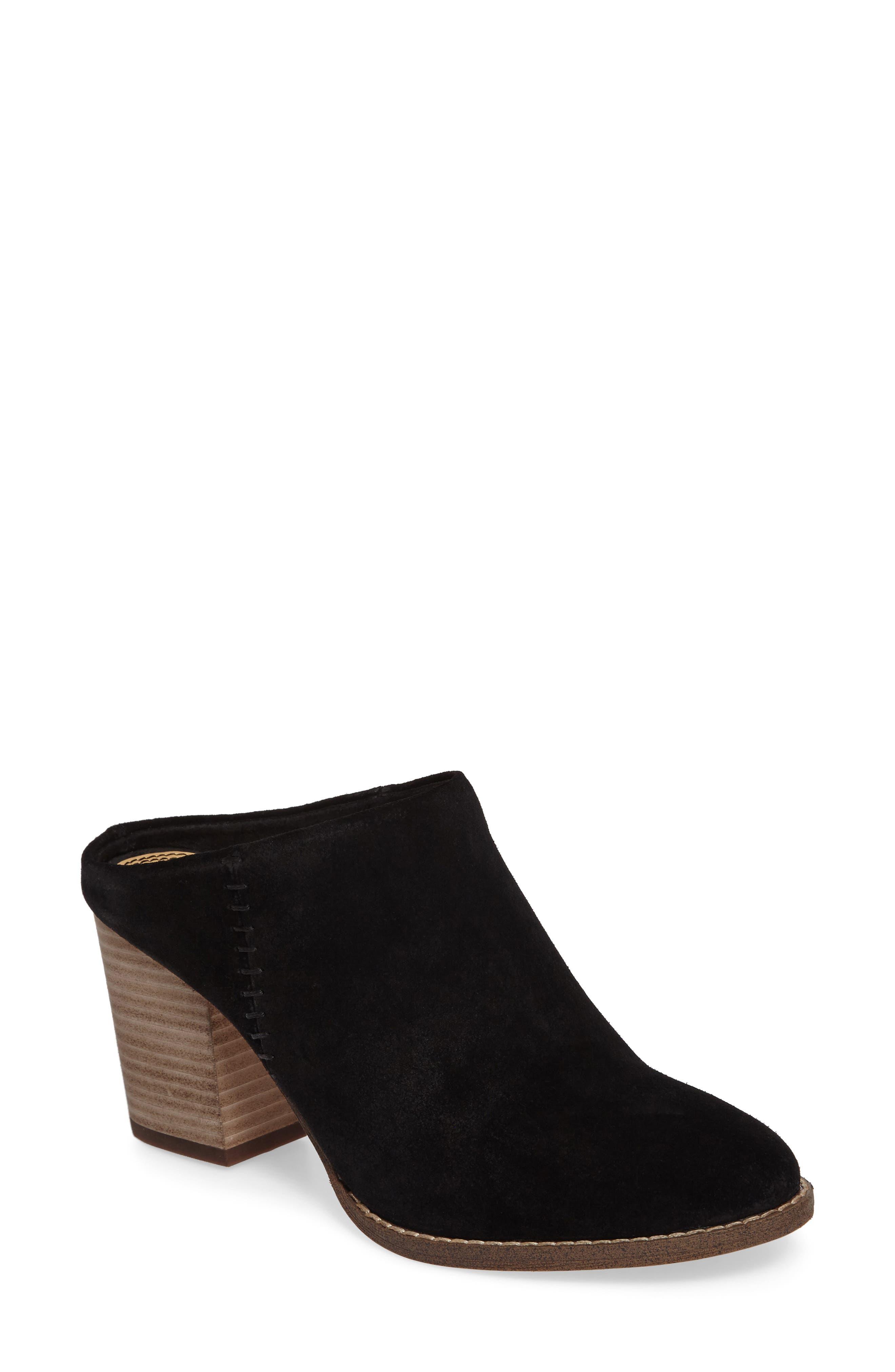 Debrah Block Heel Mule,                         Main,                         color, Black Suede
