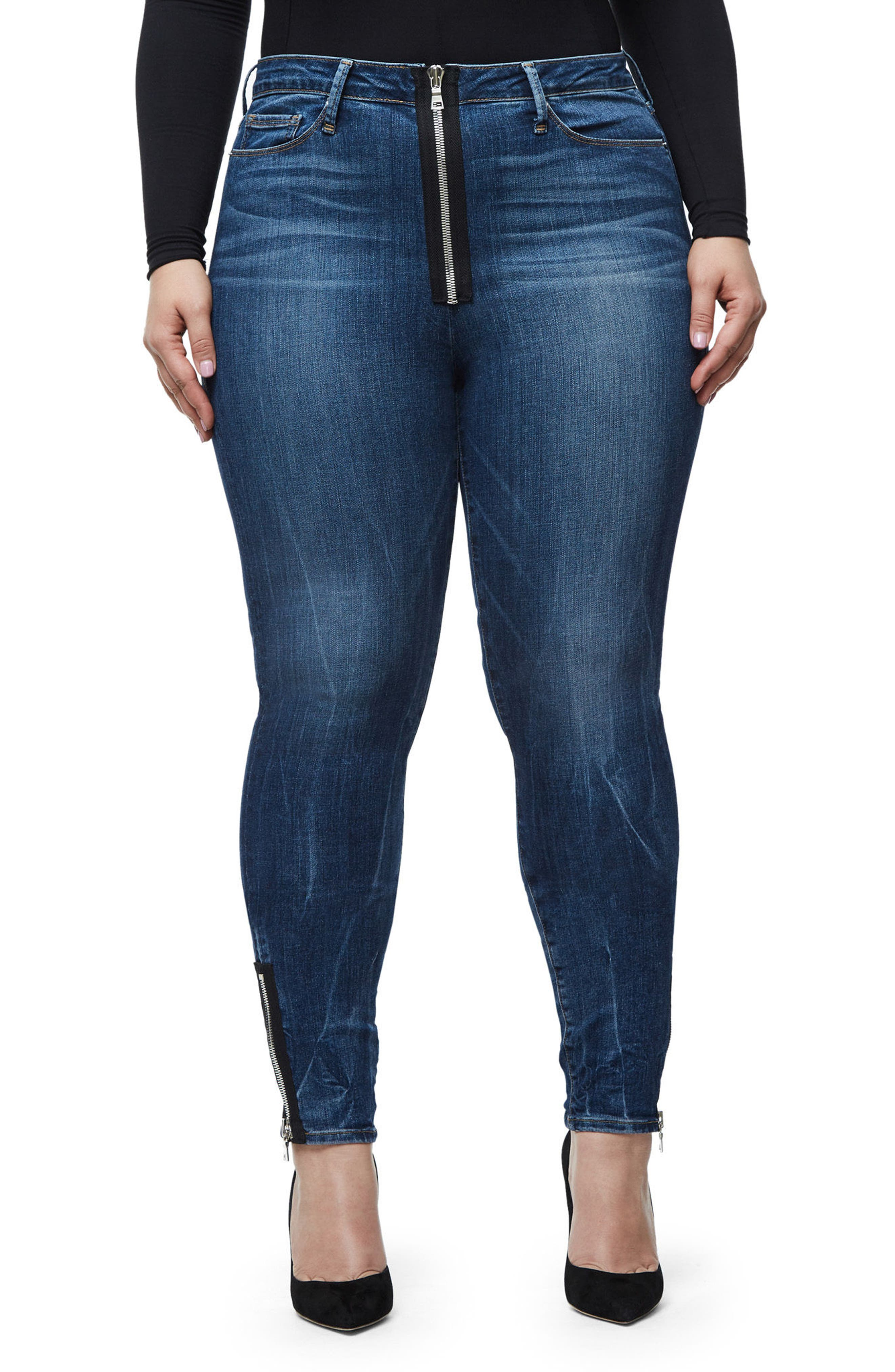 Alternate Image 7  - Good American Good Waist High Rise Ankle Jeans (Blue 076) (Regular & Plus Size)