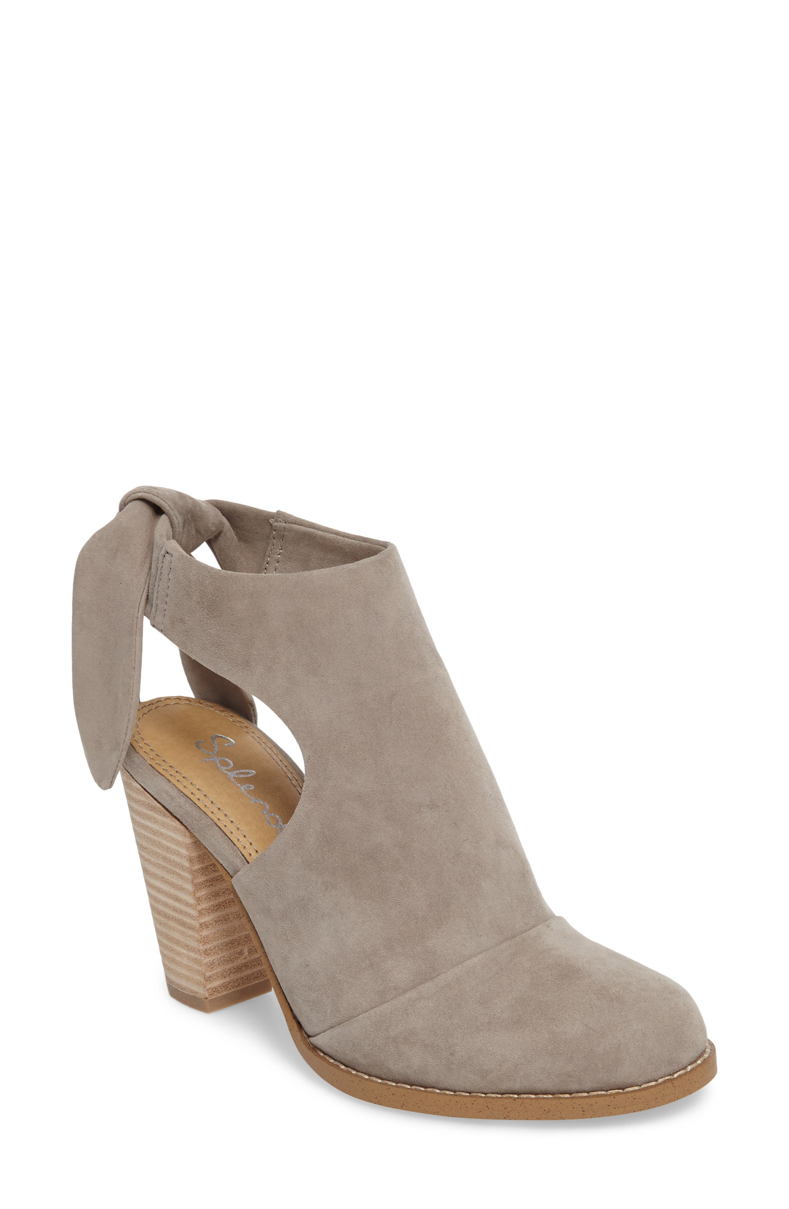 Danae Stacked Heel Bootie,                             Main thumbnail 1, color,                             Pearl Grey Suede