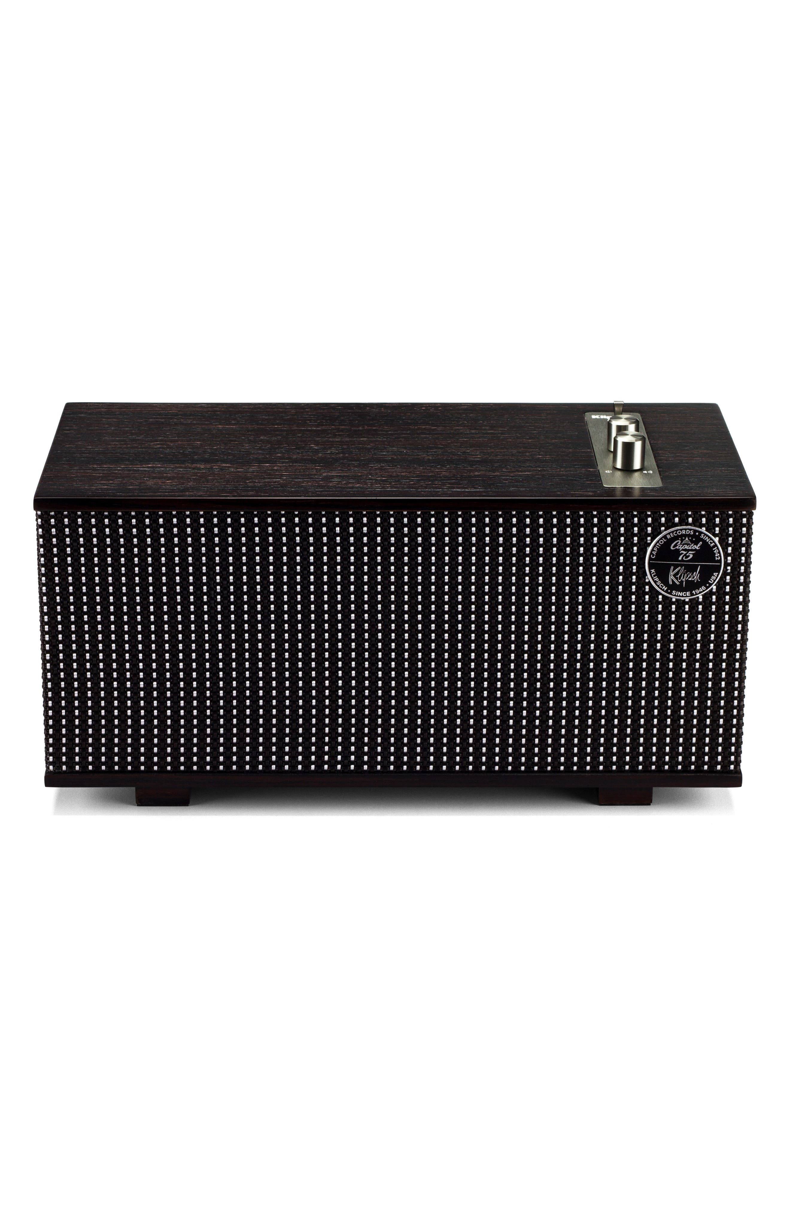 The Capitol One Bluetooth<sup>®</sup> Speaker,                             Main thumbnail 1, color,                             Ebony/ Silver