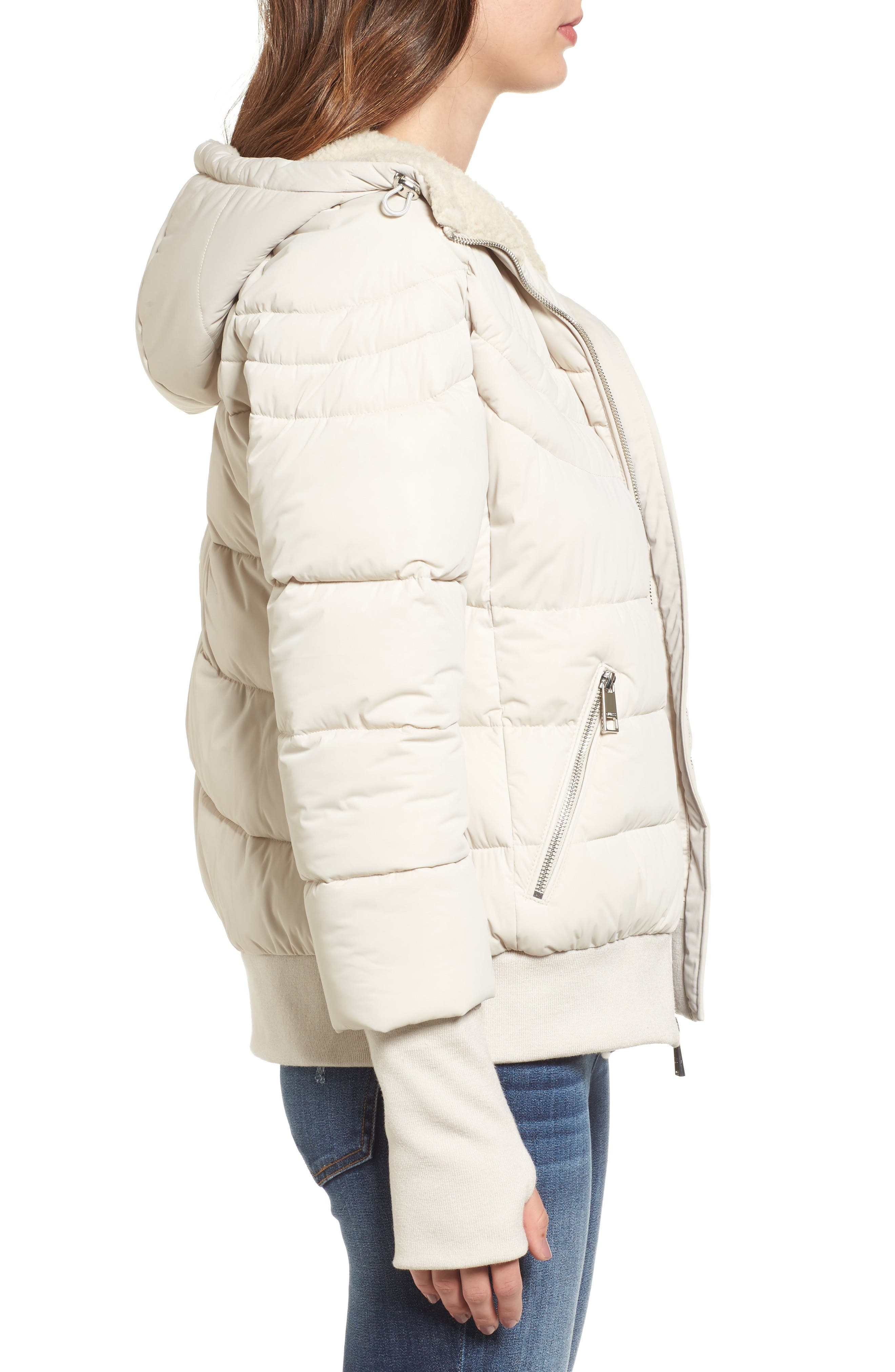 Alternate Image 3  - GUESS Oversize Hooded Puffer Jacket with Knit & Faux Shearling Trim