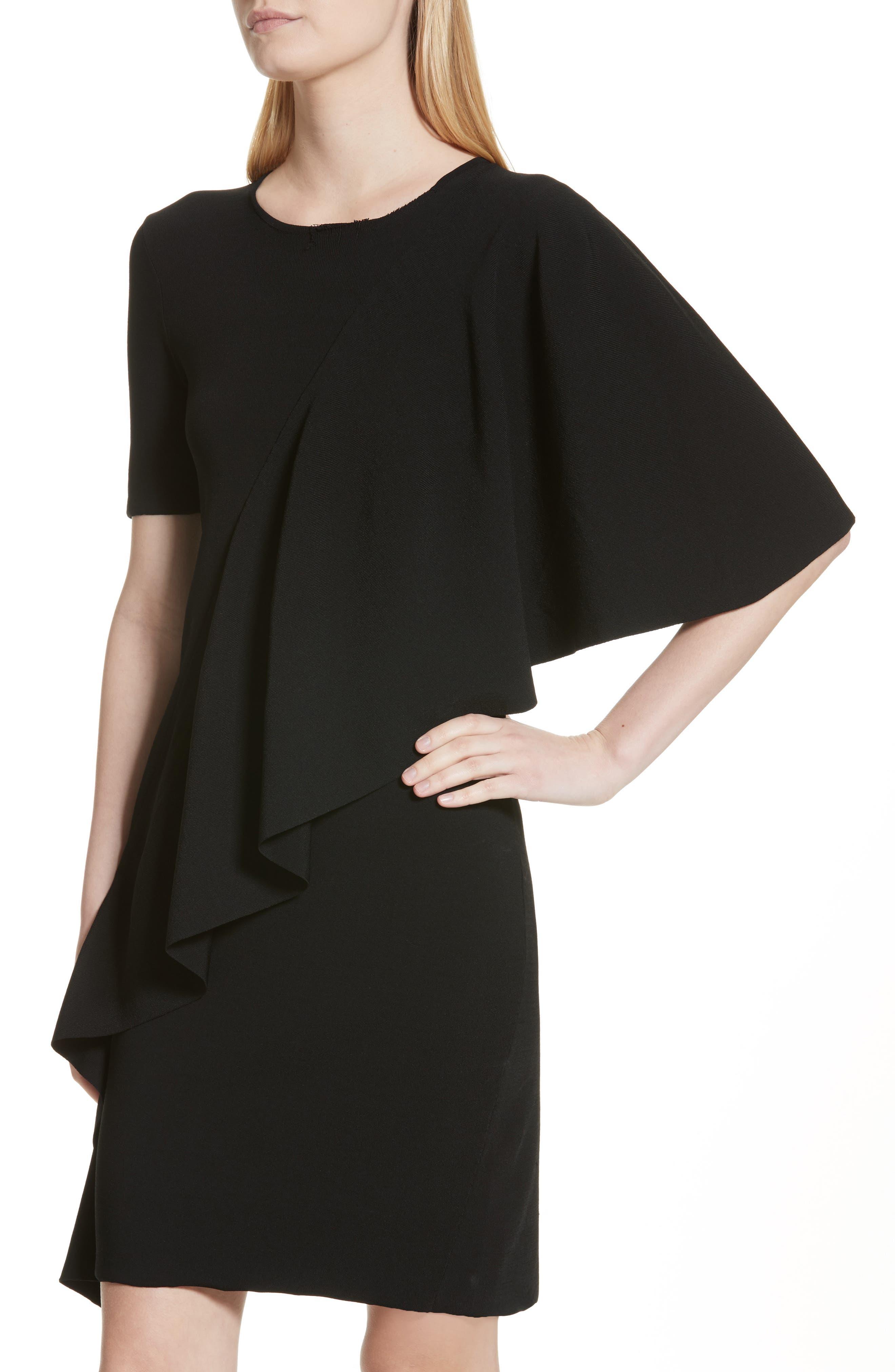 Flounce Minidress,                             Alternate thumbnail 4, color,                             Black