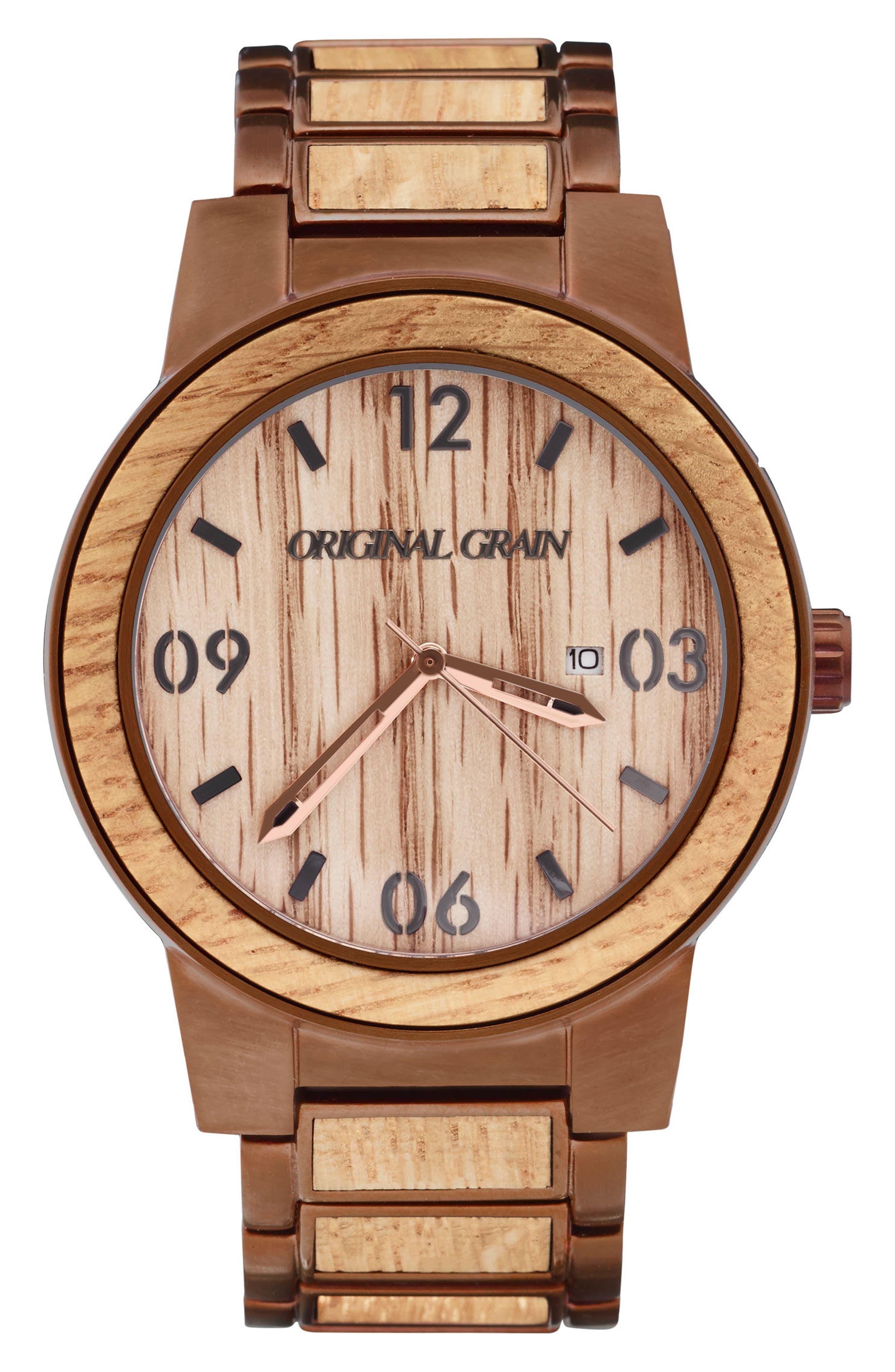 The Barrel Bracelet Watch, 47mm,                             Main thumbnail 1, color,                             Whiskey Oak/ Espresso Steel