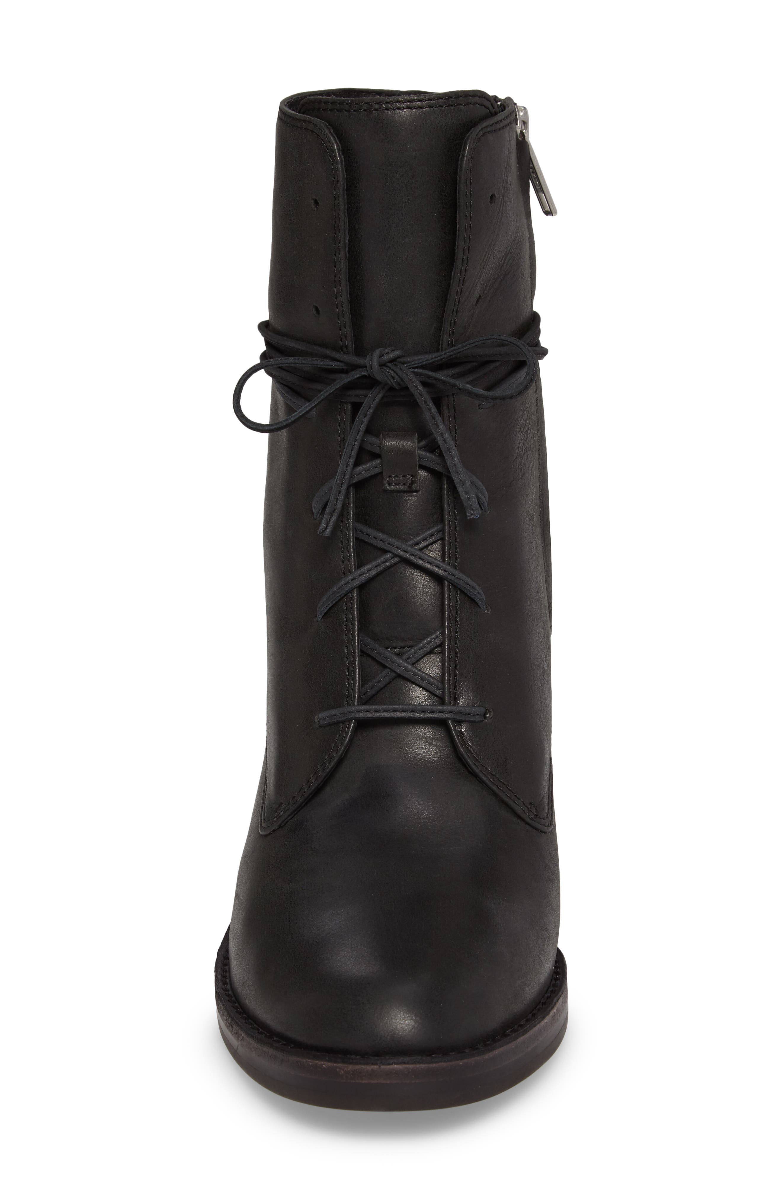 Oriana Lace-Up Boot,                             Alternate thumbnail 4, color,                             Black Leather