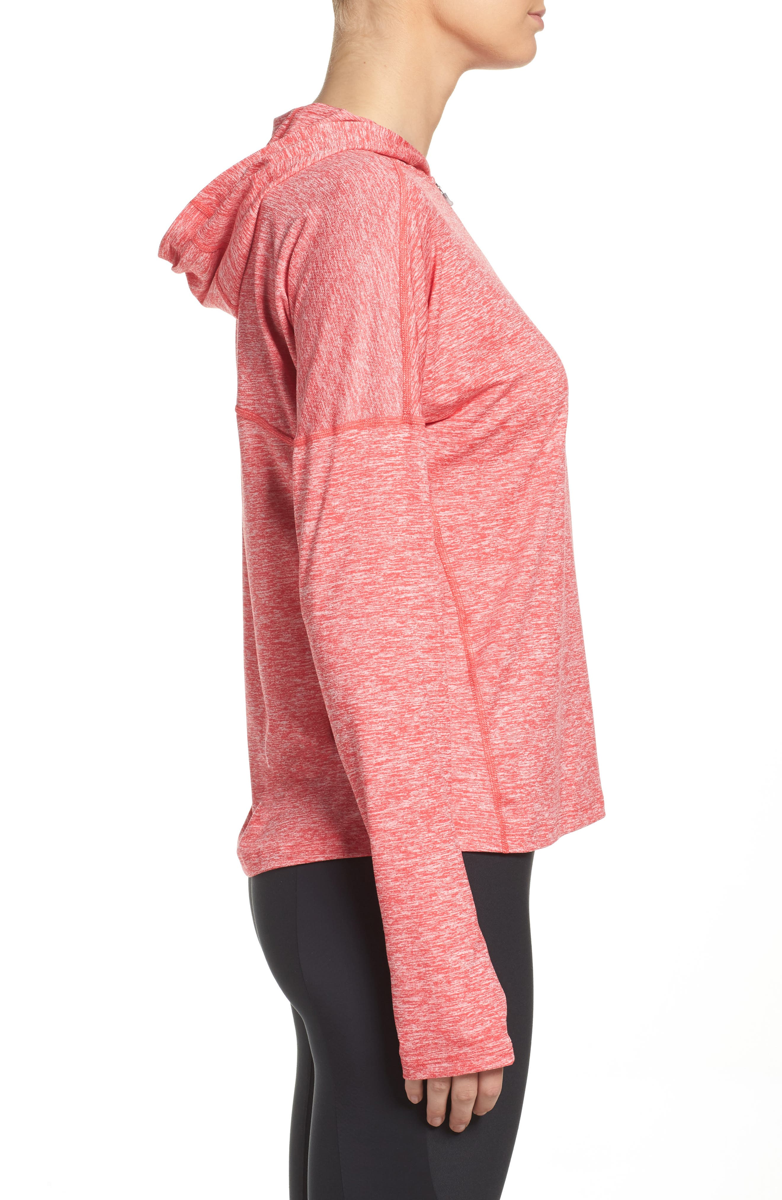 Dry Element Running Hoodie,                             Alternate thumbnail 3, color,                             Light Fusion Red/ Heather