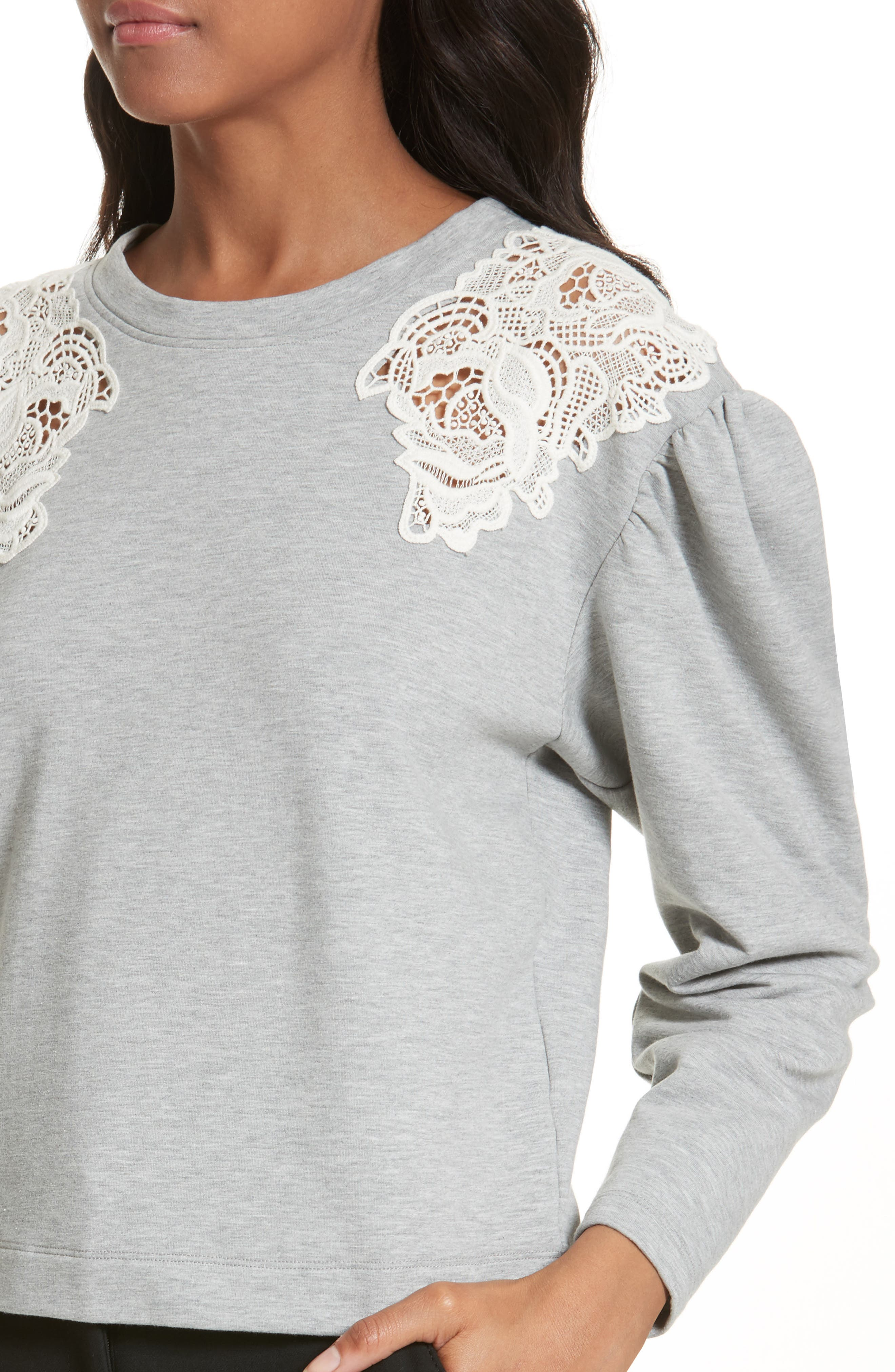 Alternate Image 4  - Rebecca Taylor Lace Inset Sweatshirt