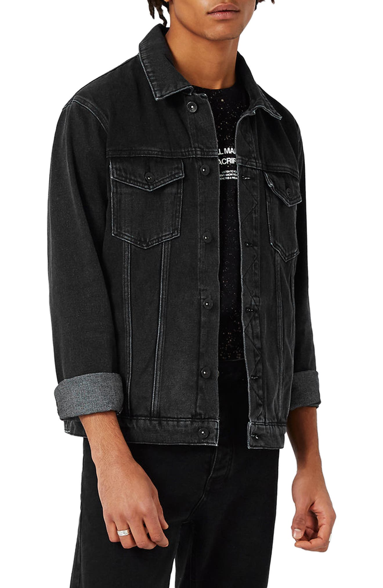 Western Denim Jacket,                             Main thumbnail 1, color,                             Black