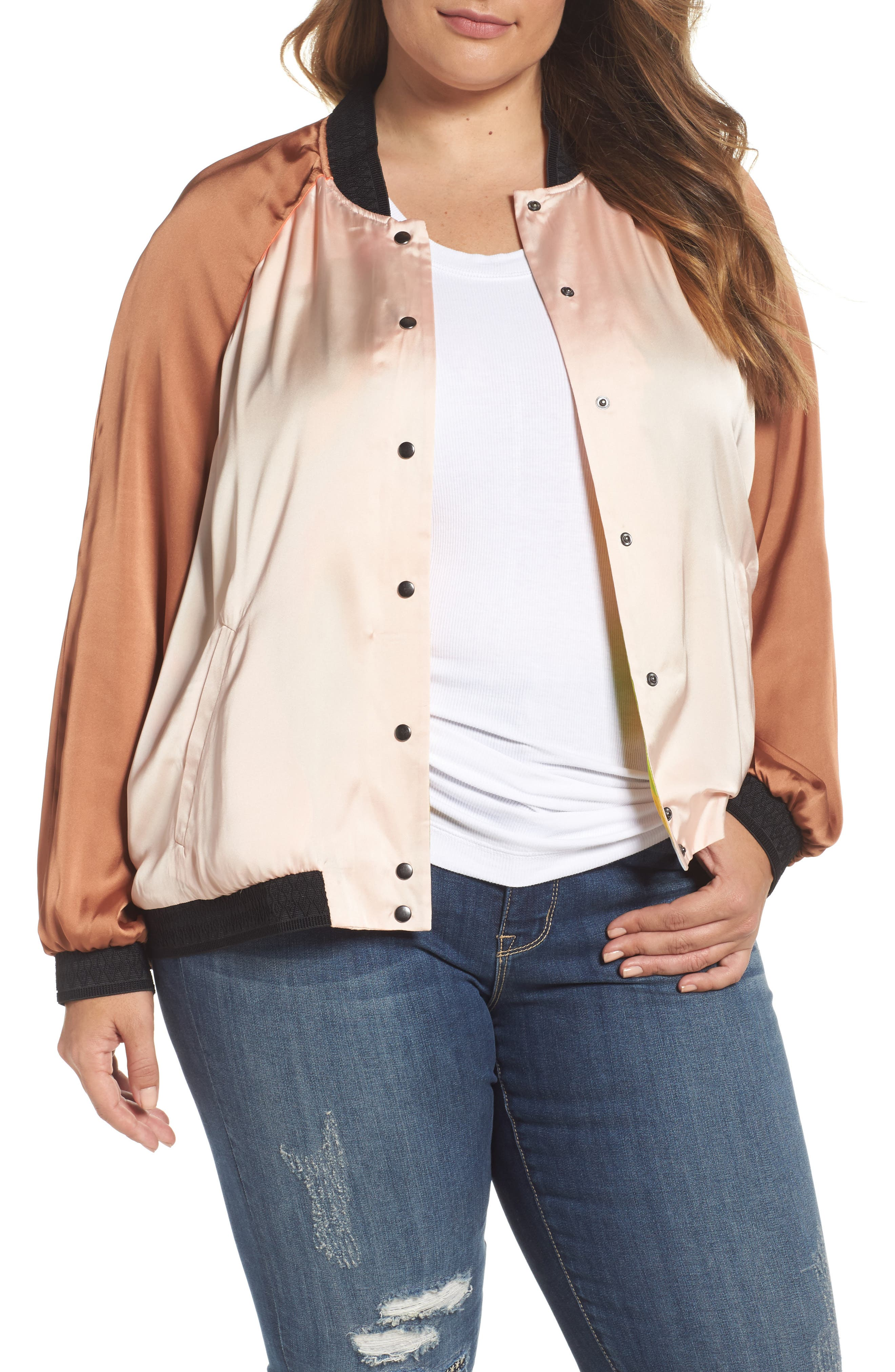Melissa McCarthy Seven7 Reversible Embroidered Bomber Jacket (Plus Size)