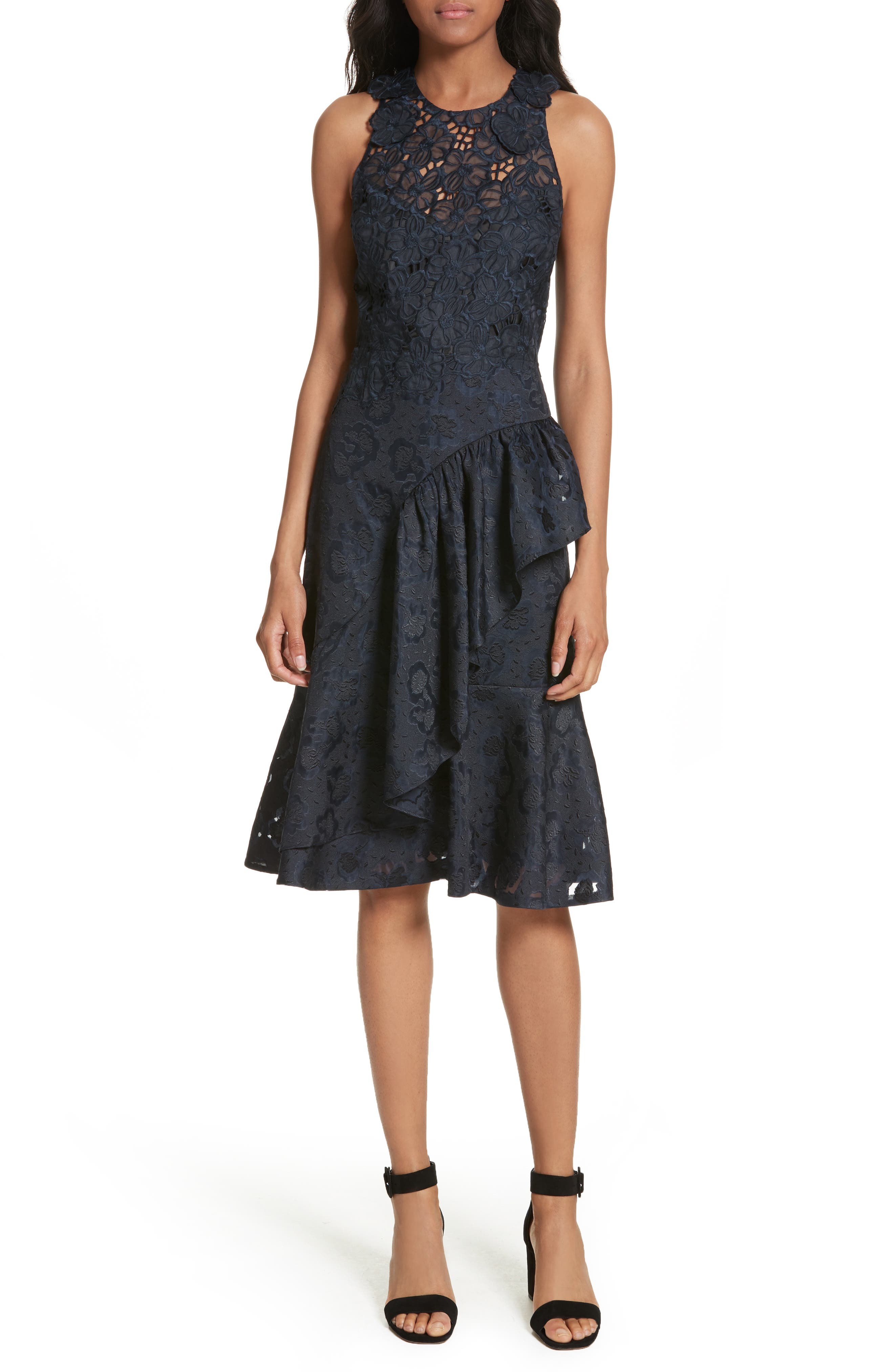 REBECCA TAYLOR Aly Floral Lace & Jacquard Dress