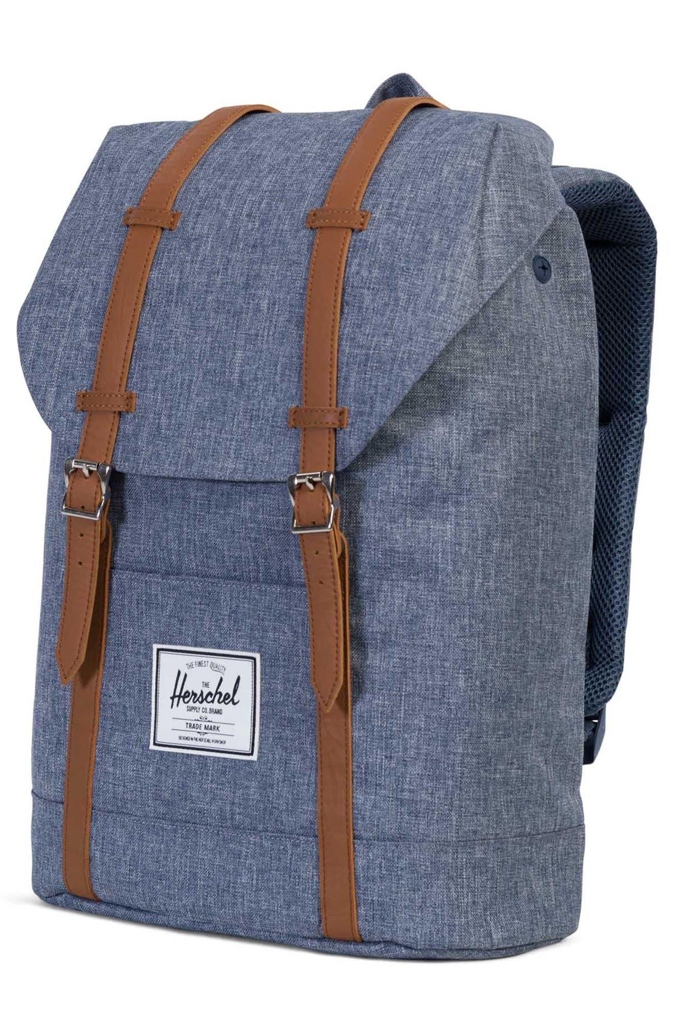 'Retreat' Backpack,                             Alternate thumbnail 4, color,                             Dark Chambray Cross Hatch