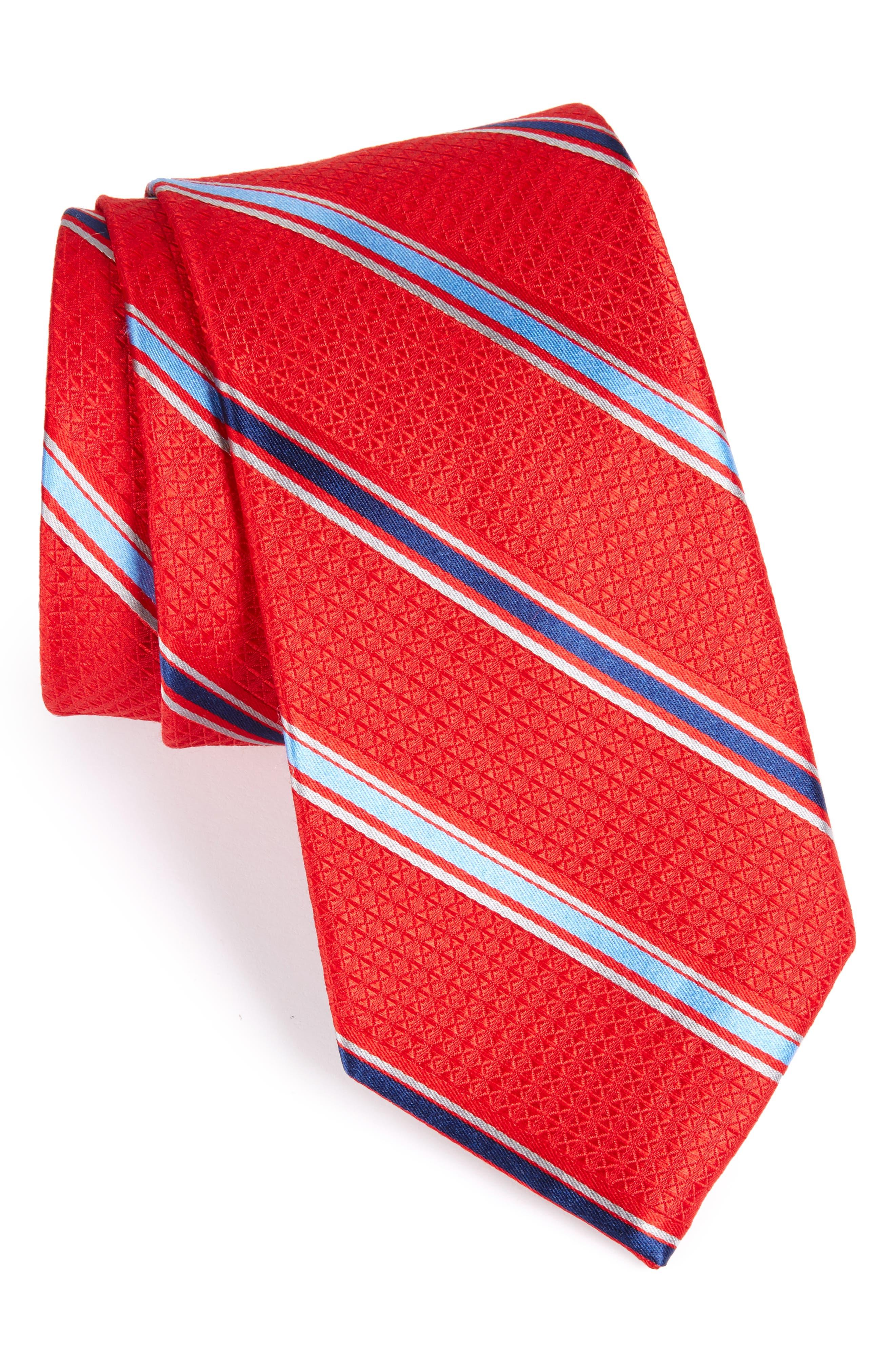 Stripe Silk Tie,                         Main,                         color, Red