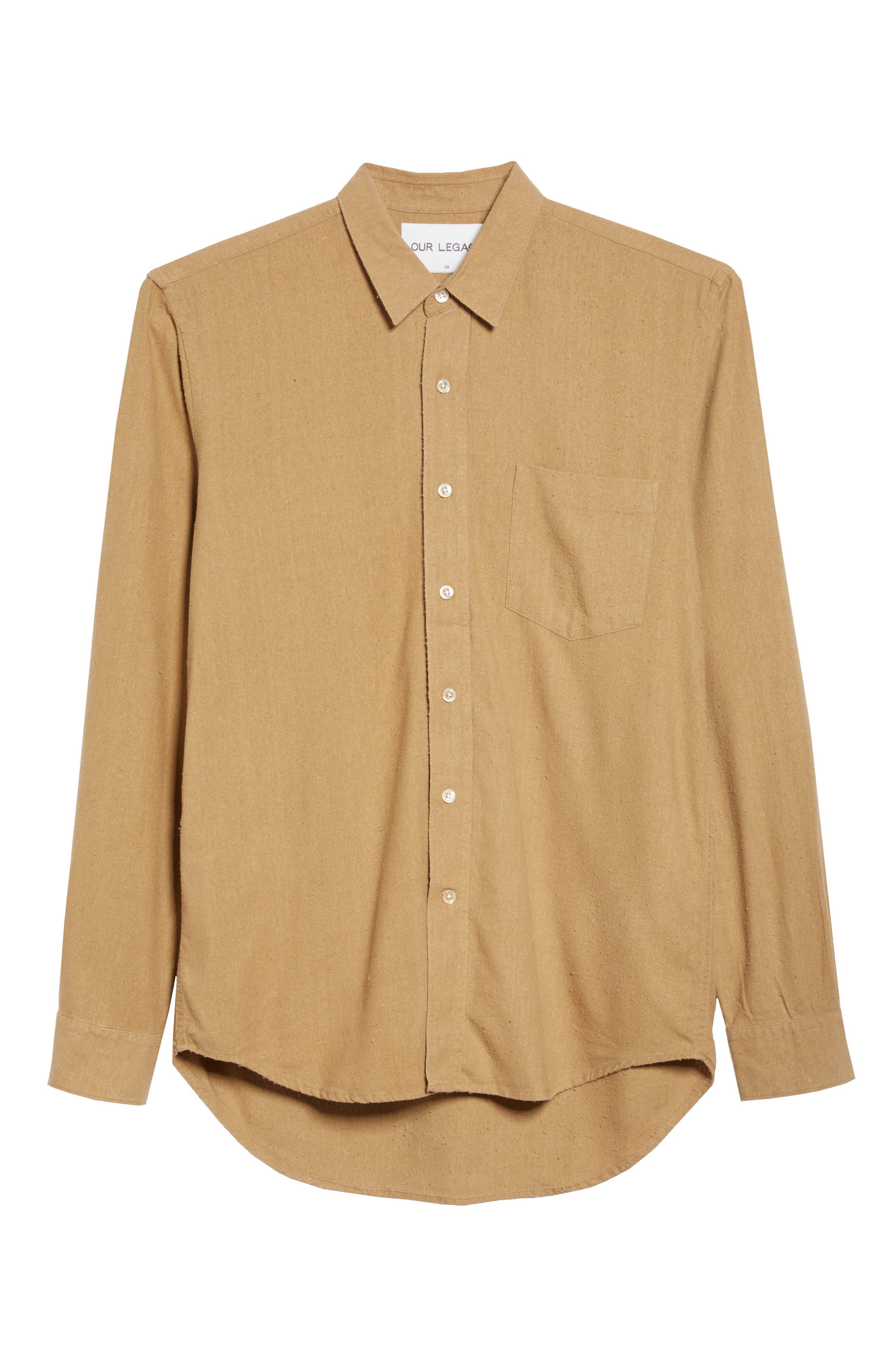 Regular Fit Silk Noil Sport Shirt,                             Alternate thumbnail 6, color,                             Tan