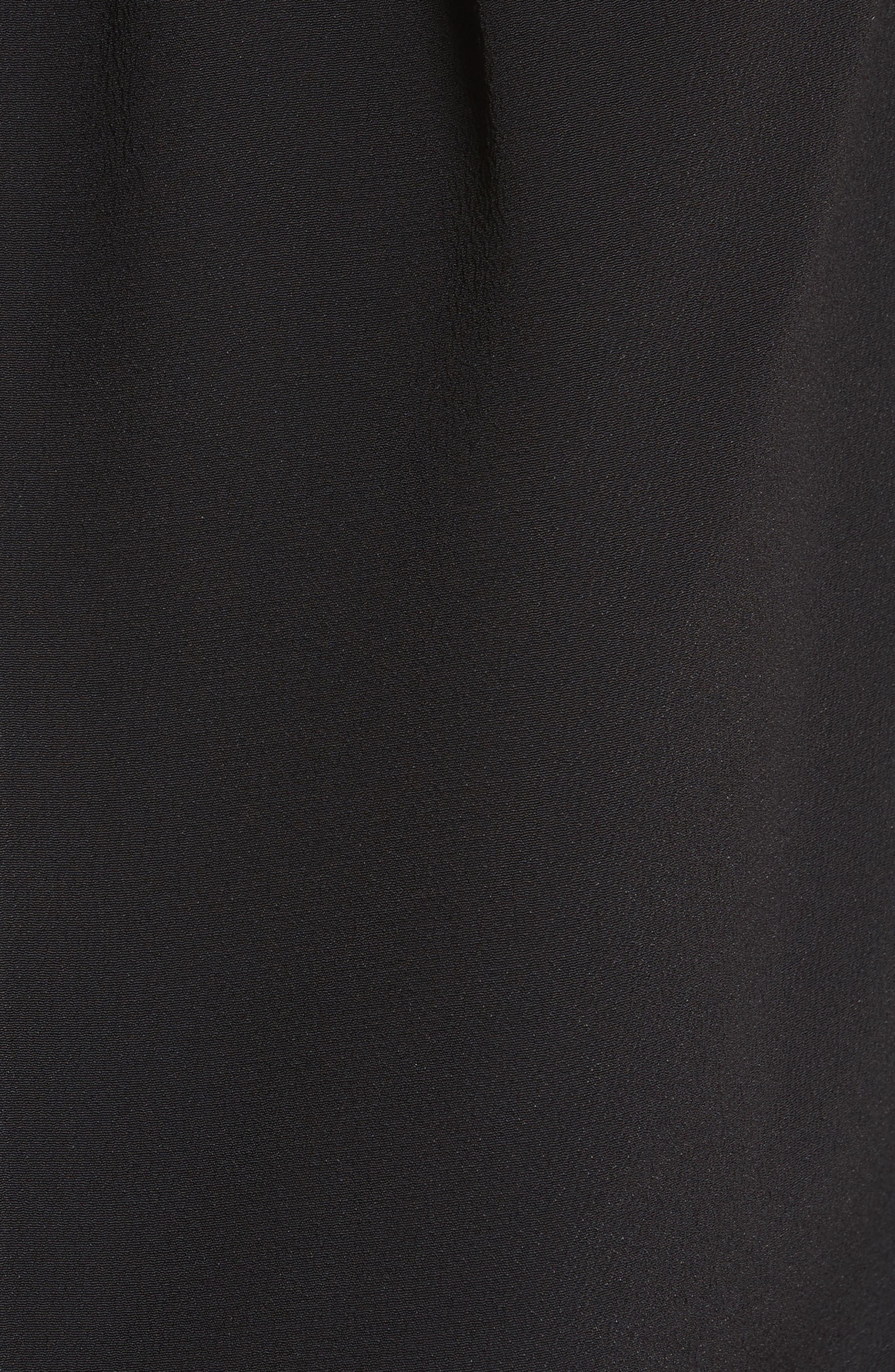 Tucked Neck Silk Blend Blouse,                             Alternate thumbnail 3, color,                             Black