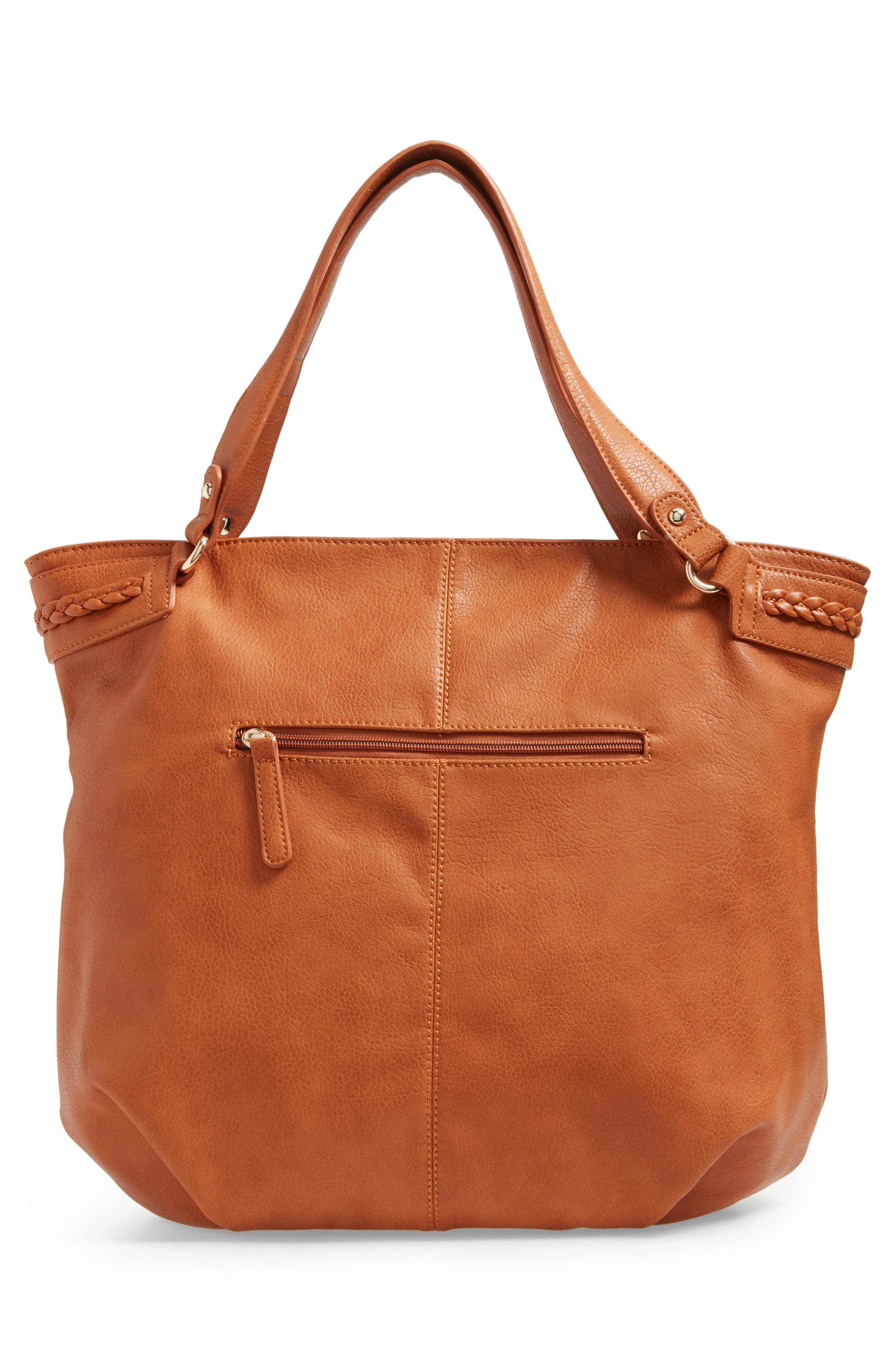 Tara Braided Faux Leather Hobo,                             Alternate thumbnail 3, color,                             Cognac