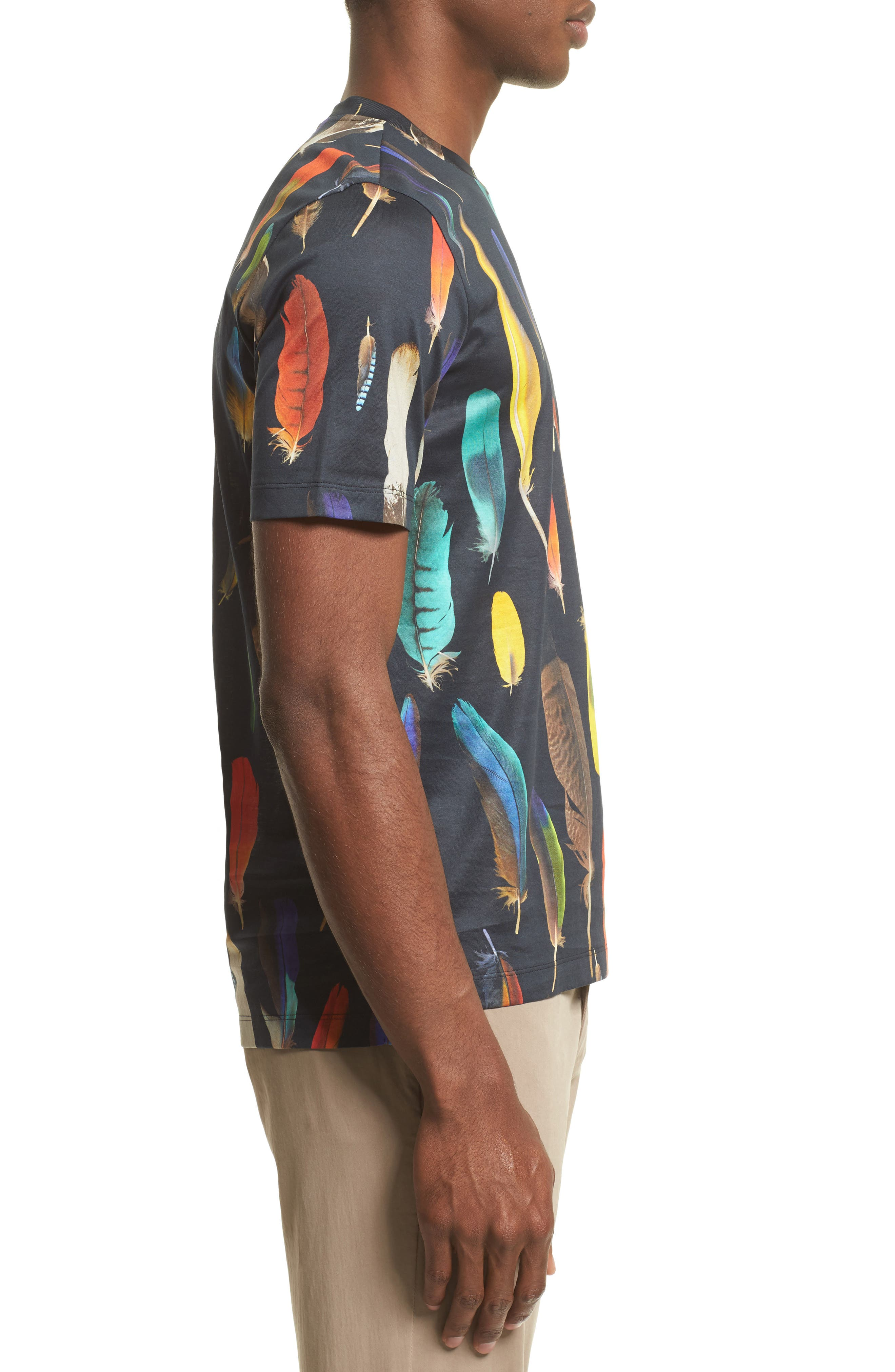 Feather Print T-Shirt,                             Alternate thumbnail 3, color,                             Black