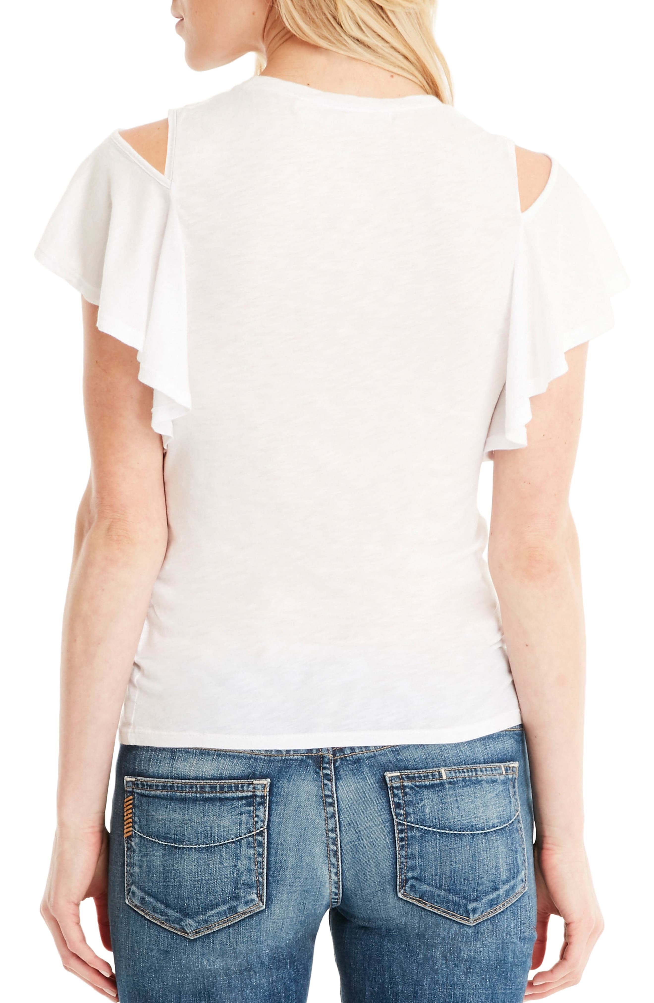 Cutout Shoulder U-Neck Tee,                             Alternate thumbnail 2, color,                             White