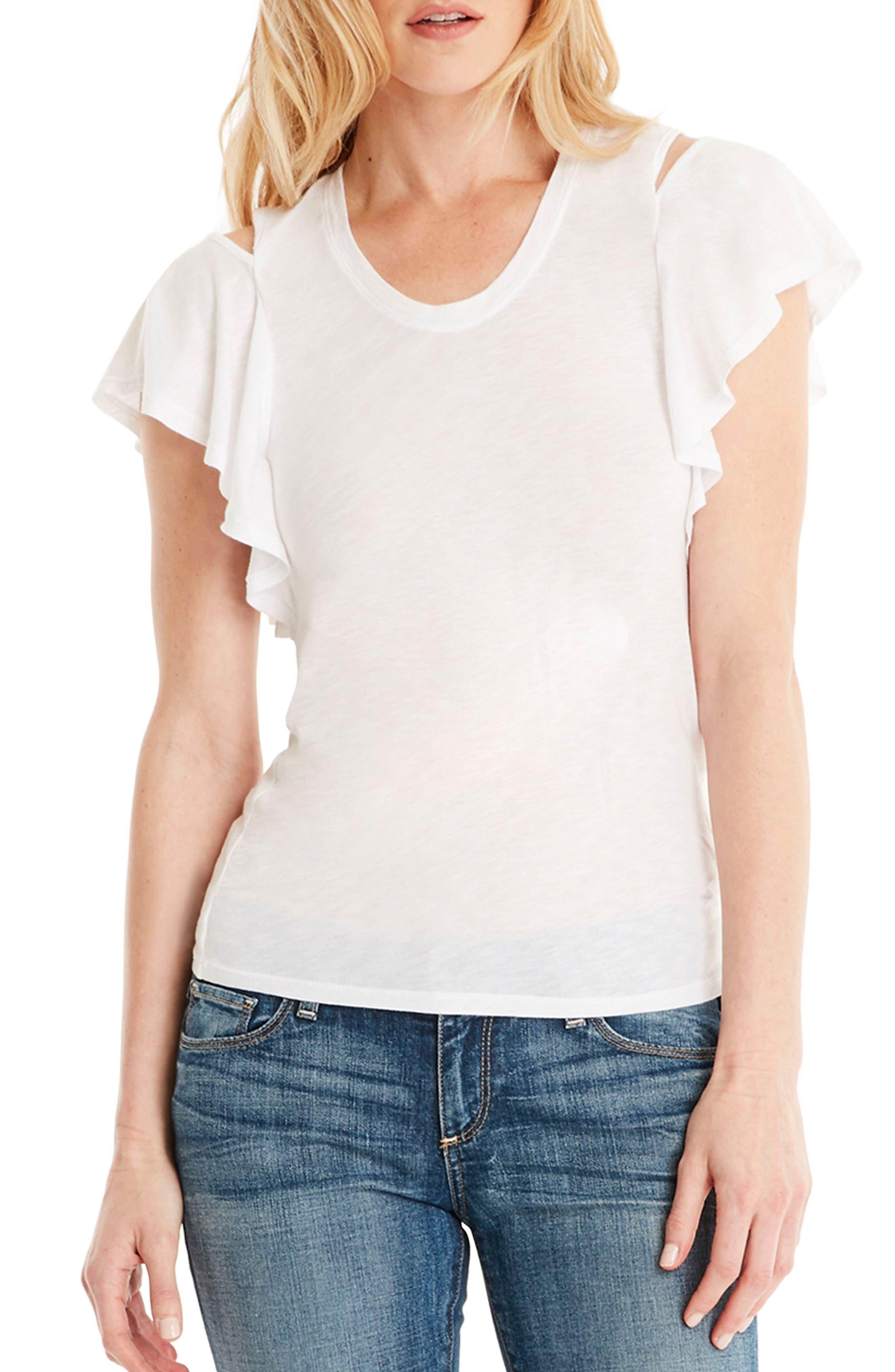 Cutout Shoulder U-Neck Tee,                         Main,                         color, White