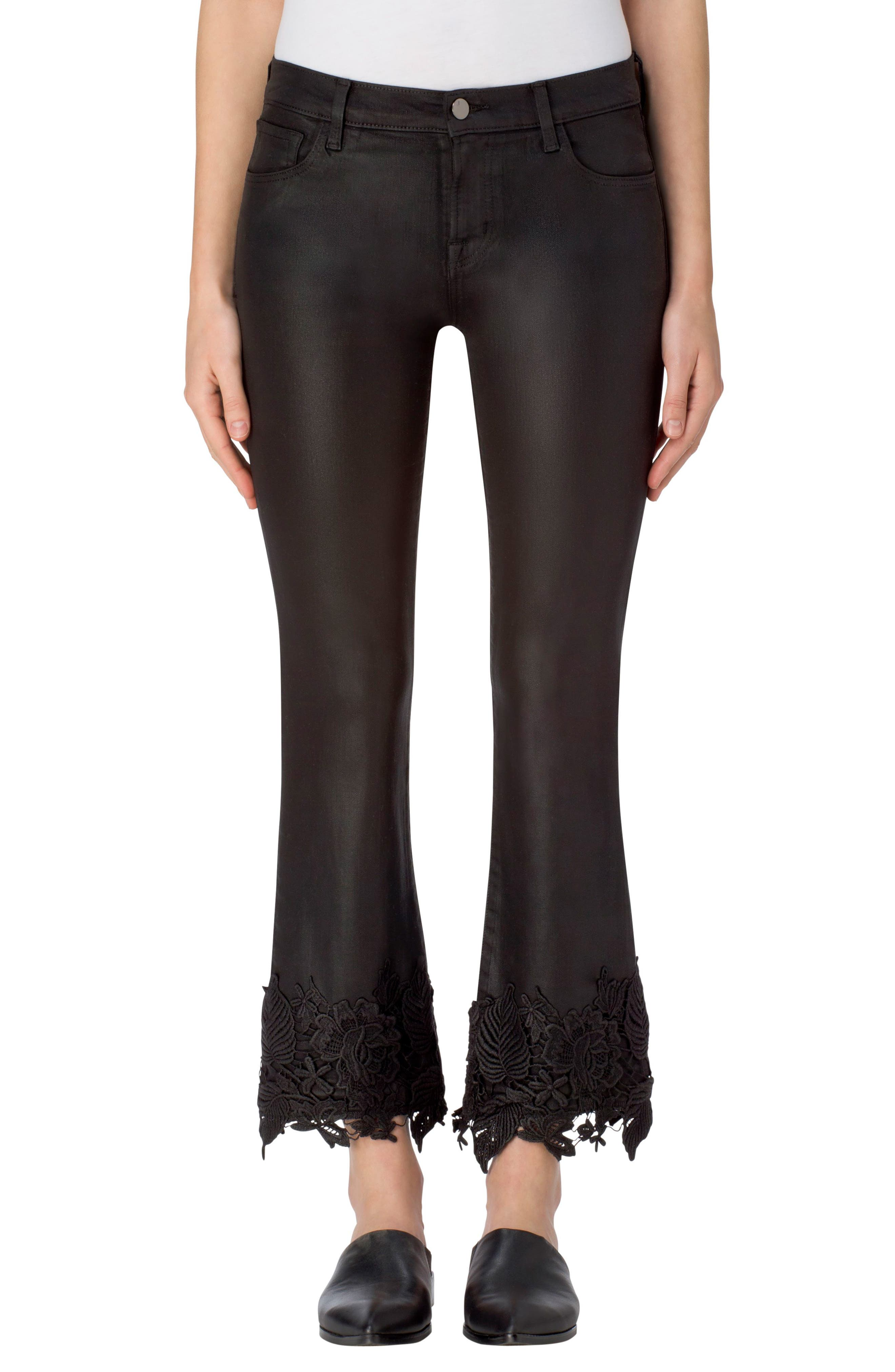 Main Image - J Brand Selena Crop Bootcut Jeans (Coated Black Lace)