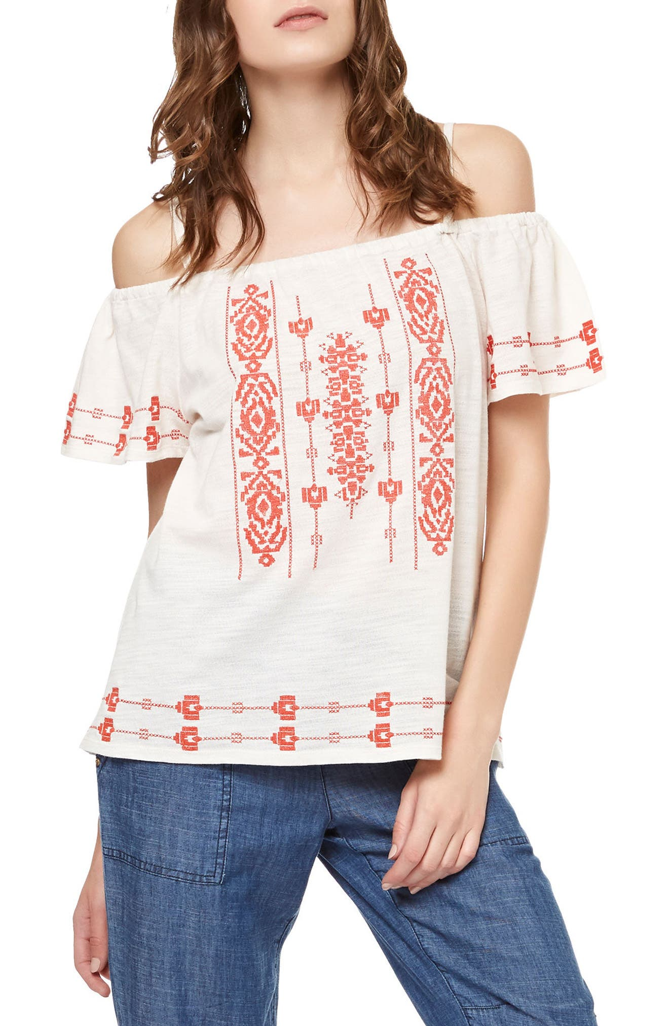 Magnolia Embroidered Off the Shoulder Top,                             Main thumbnail 1, color,                             Light Dune