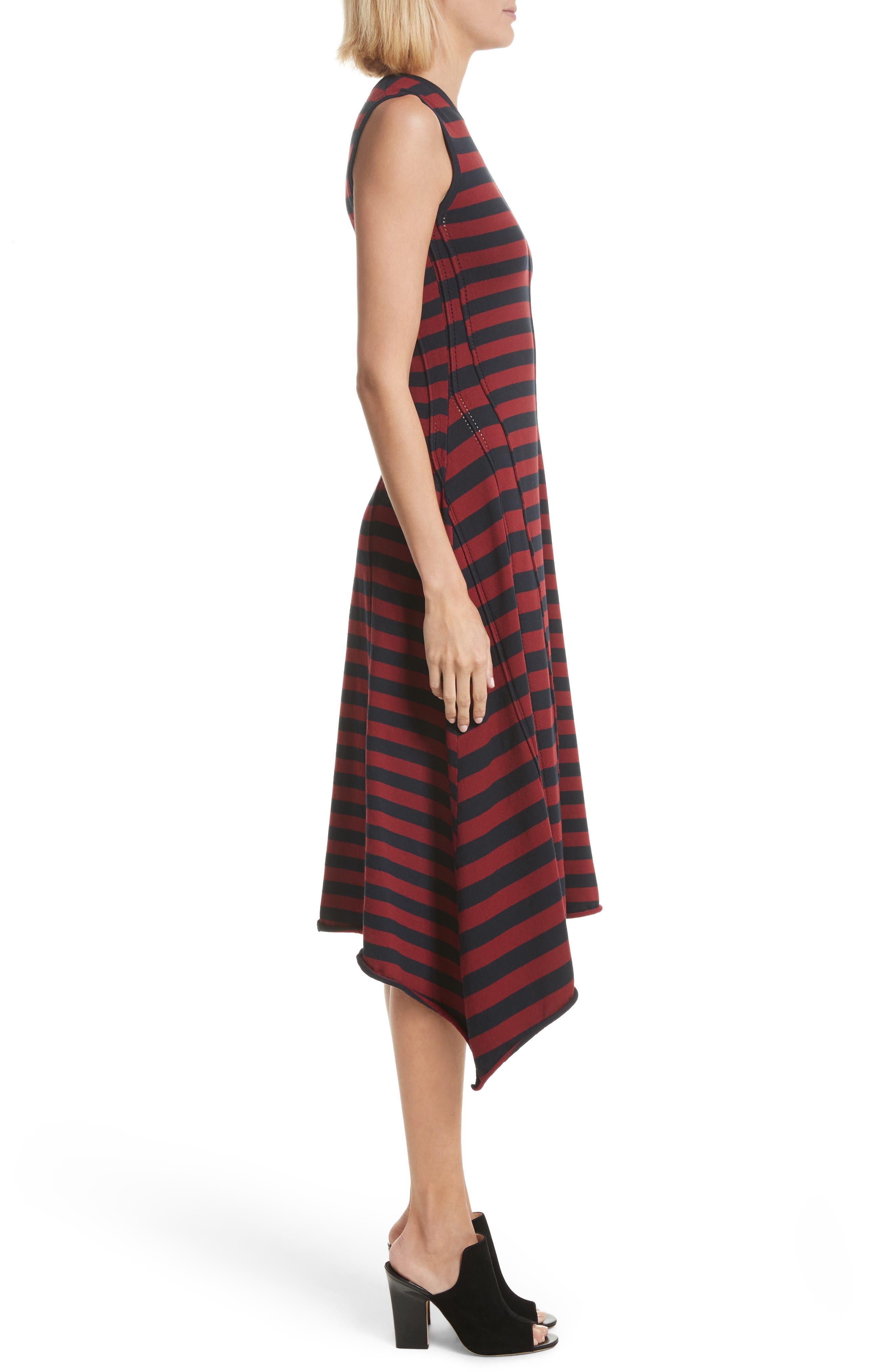 Stripe Handkerchief Hem Dress,                             Alternate thumbnail 3, color,                             Midnight/ Rosewood