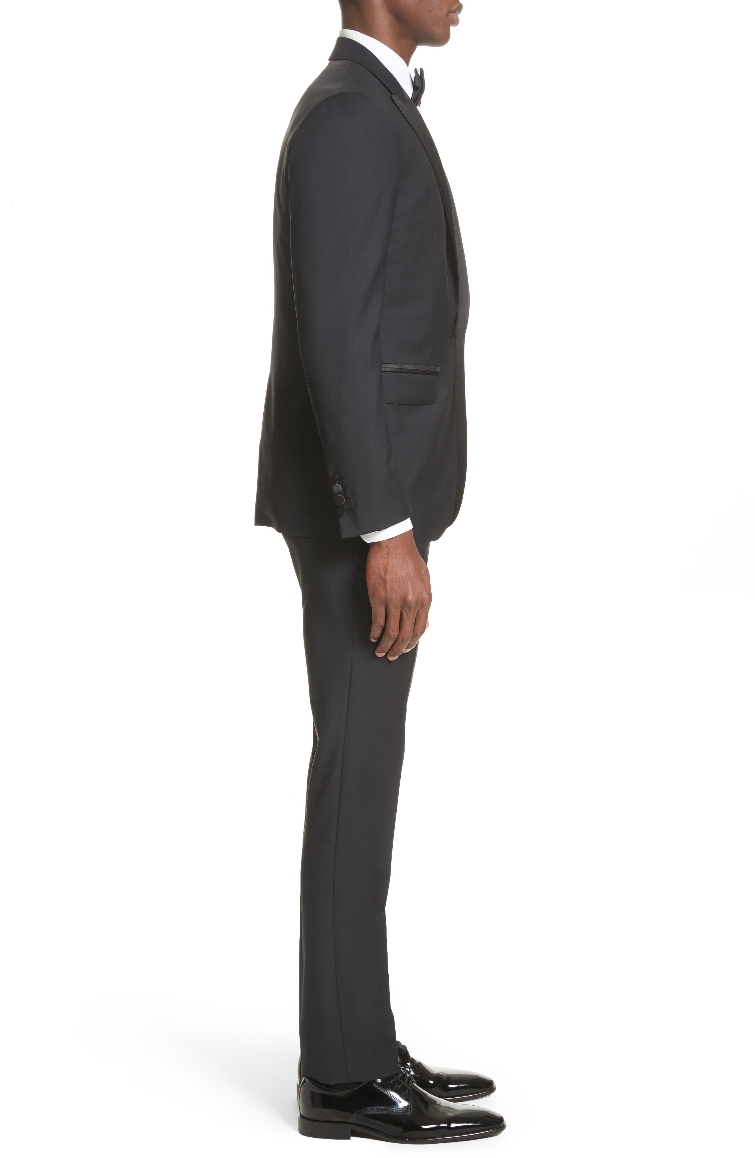 Peak Lapel Wool Blend Tuxedo,                             Alternate thumbnail 3, color,                             Navy