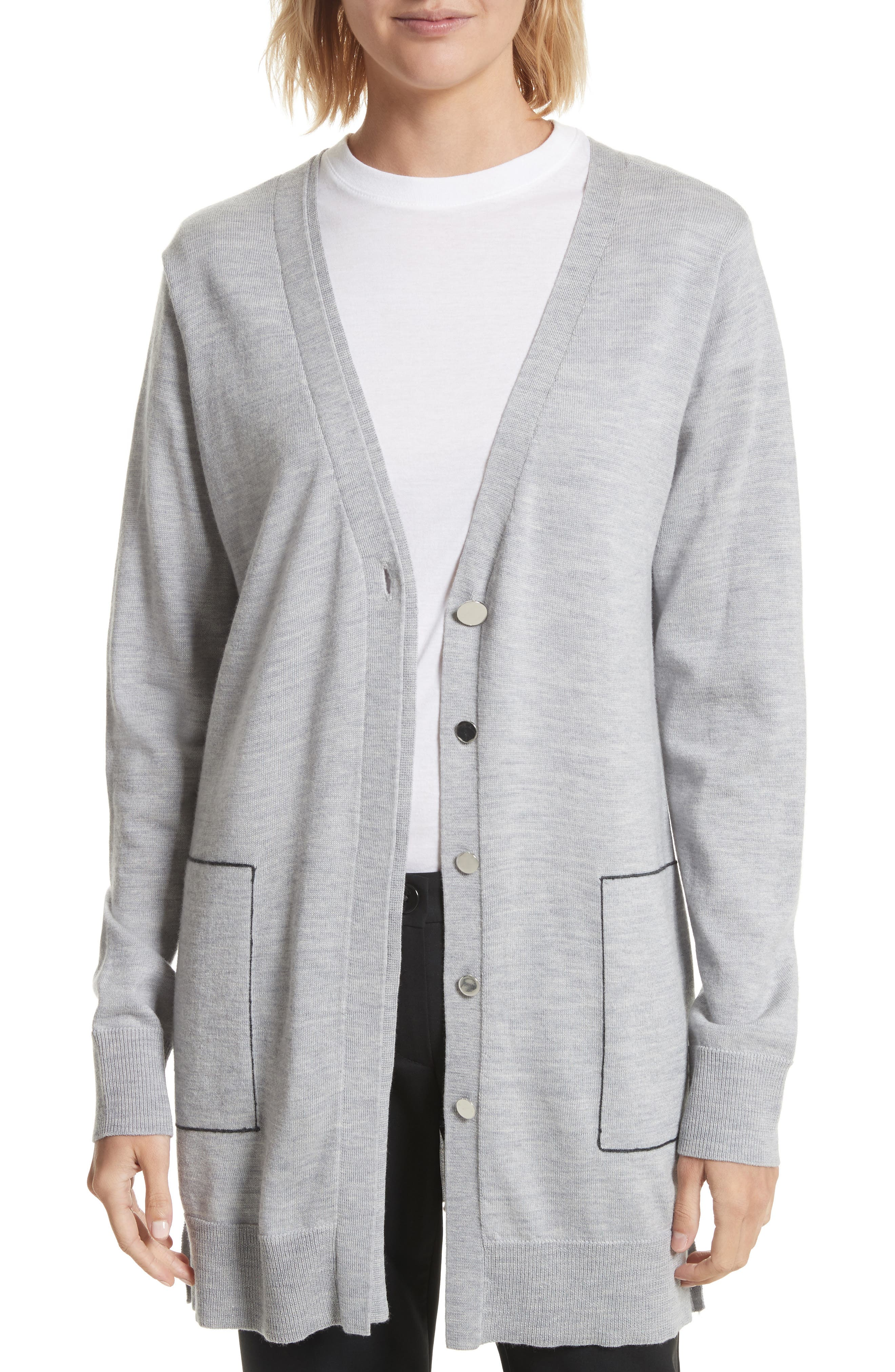 GREY Jason Wu Double Placket Merino Wool Blend Cardigan
