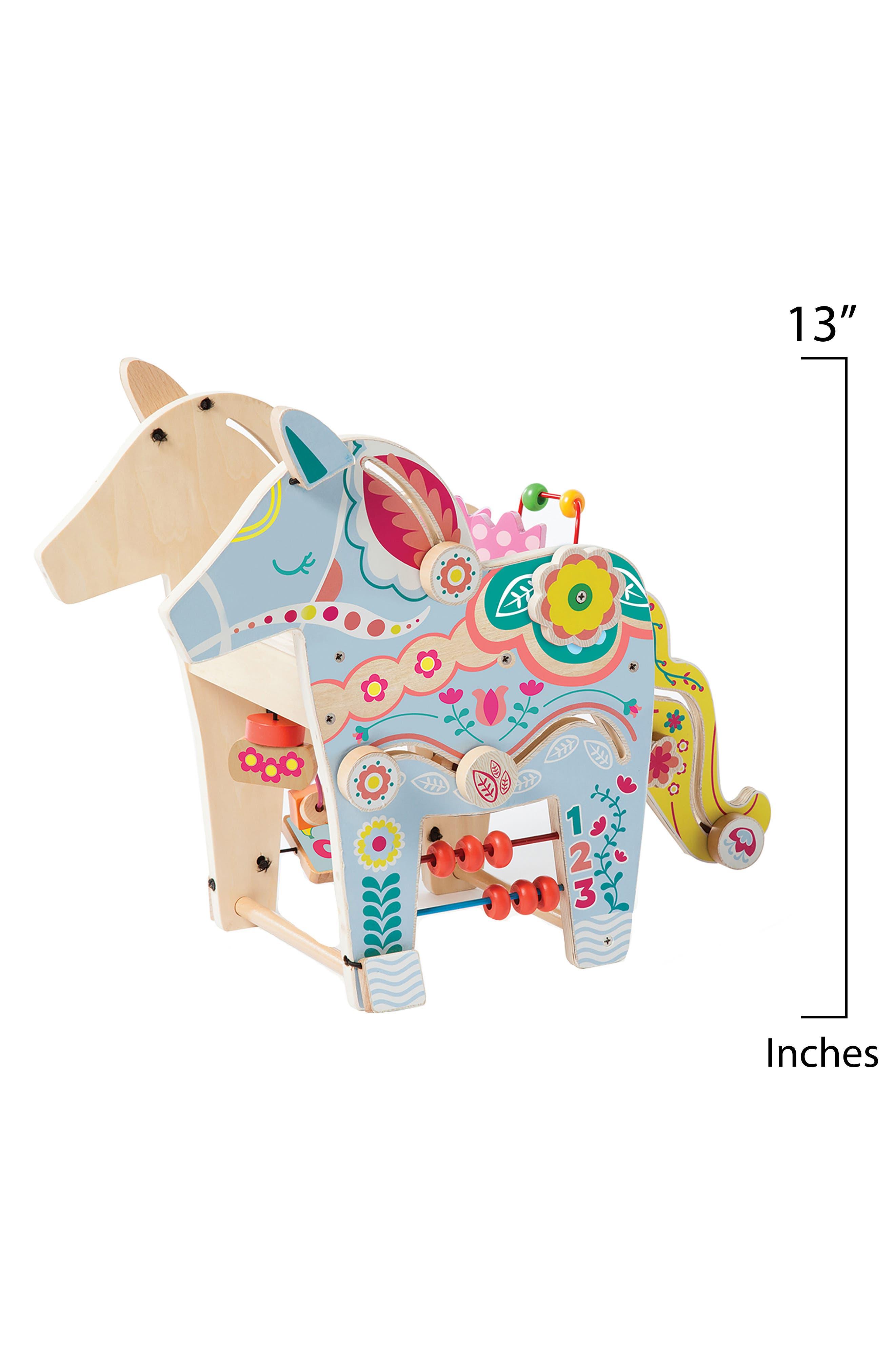 Wooden Playful Pony Activity Center,                             Alternate thumbnail 3, color,                             Blue