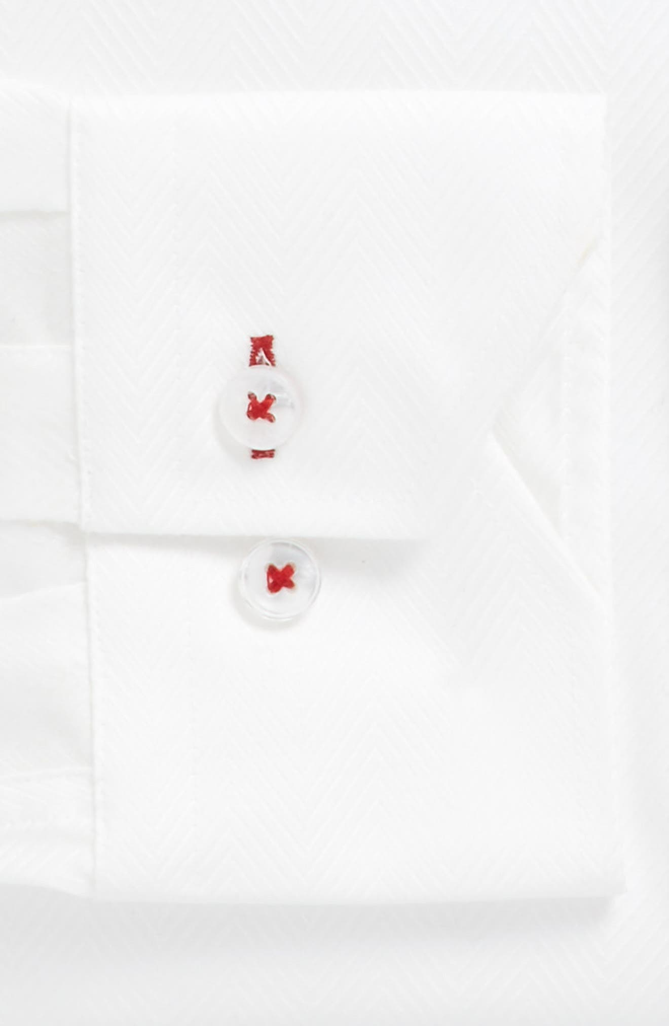 Trim Fit Herringbone Dress Shirt,                             Alternate thumbnail 4, color,                             White