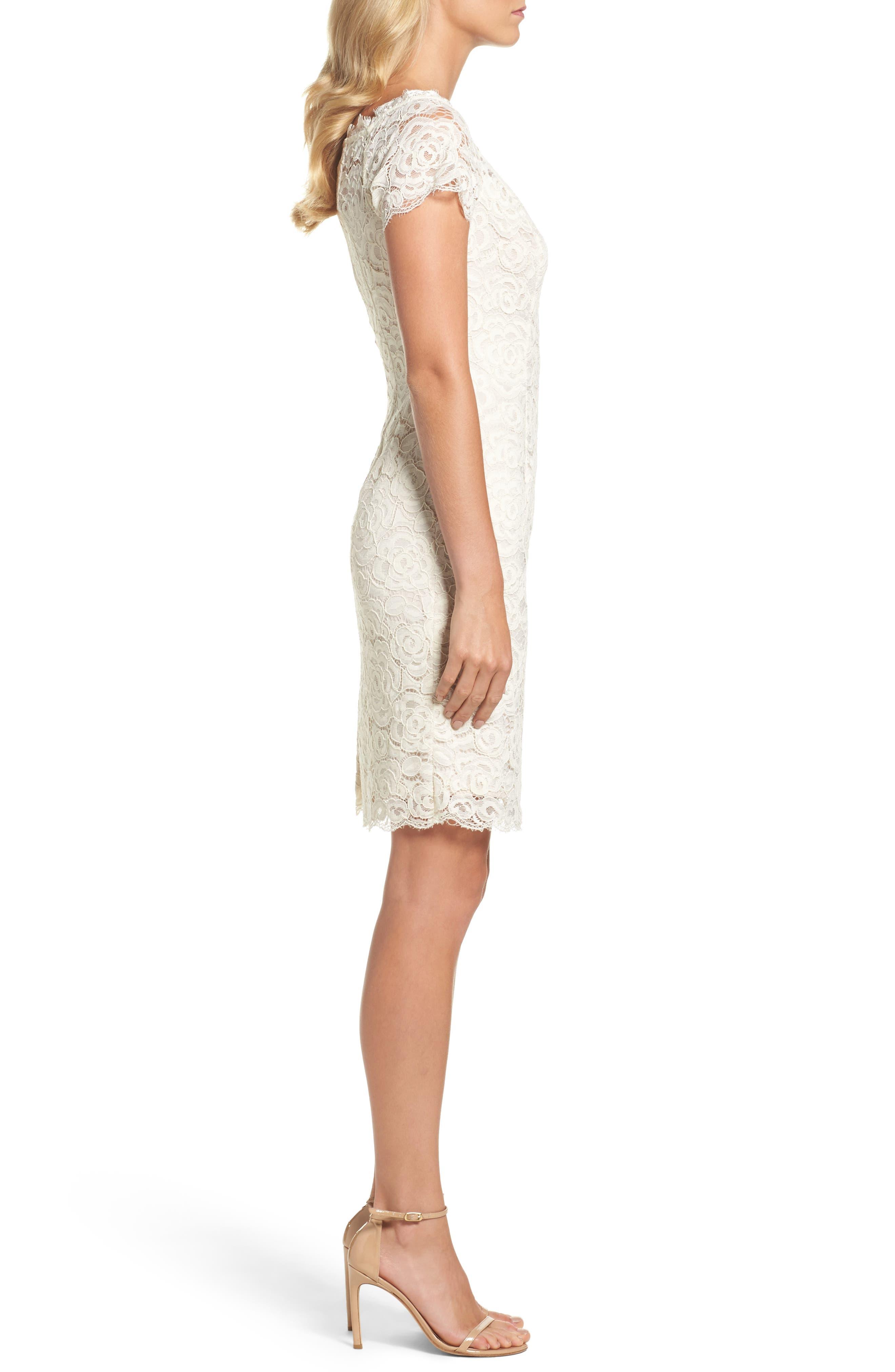 Alternate Image 3  - Adrianna PapellOff the Shoulder Lace Sheath Dress (Regular & Petite)