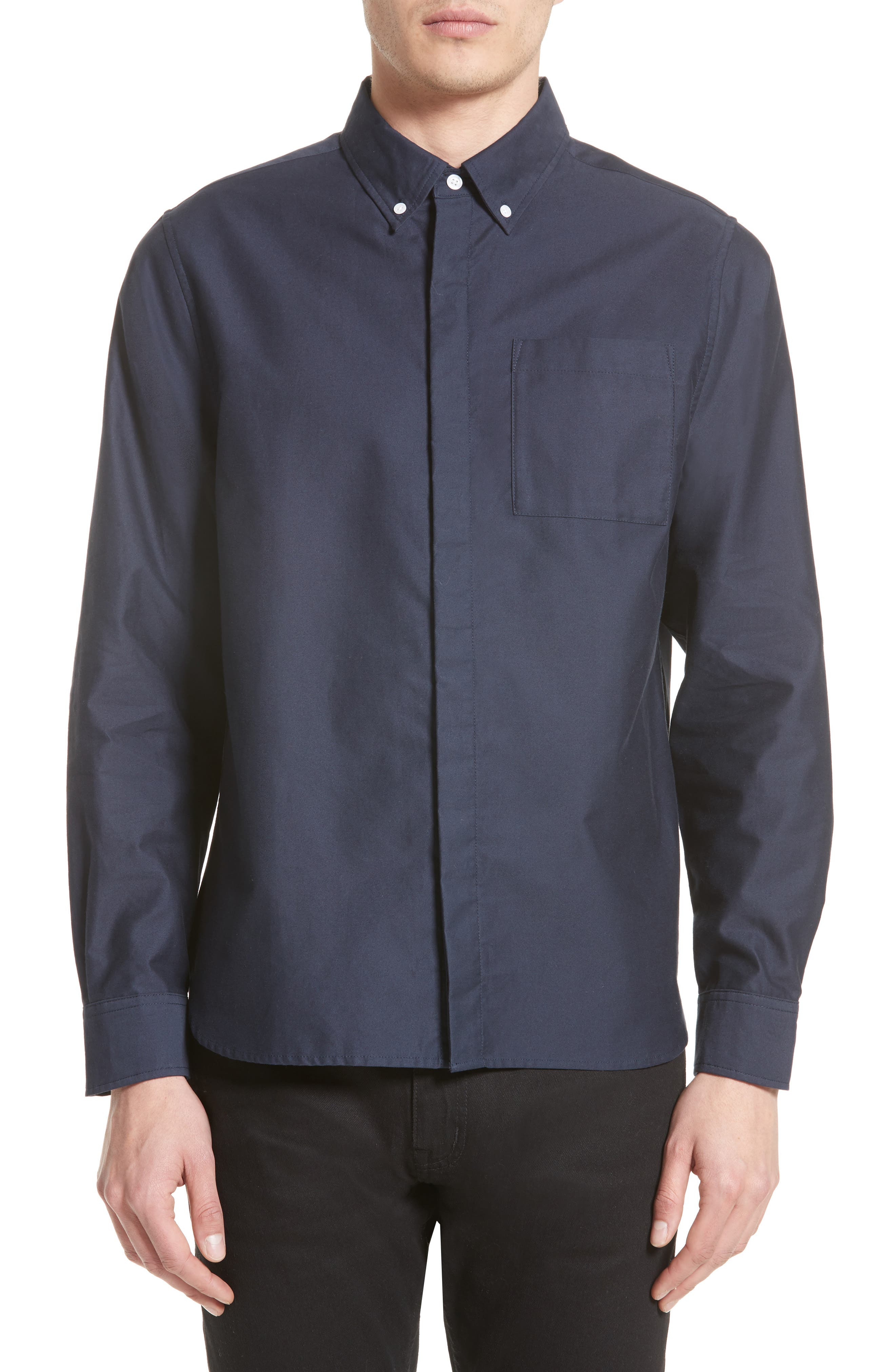 Mickey Concealed Button Sport Shirt,                         Main,                         color, Midnight