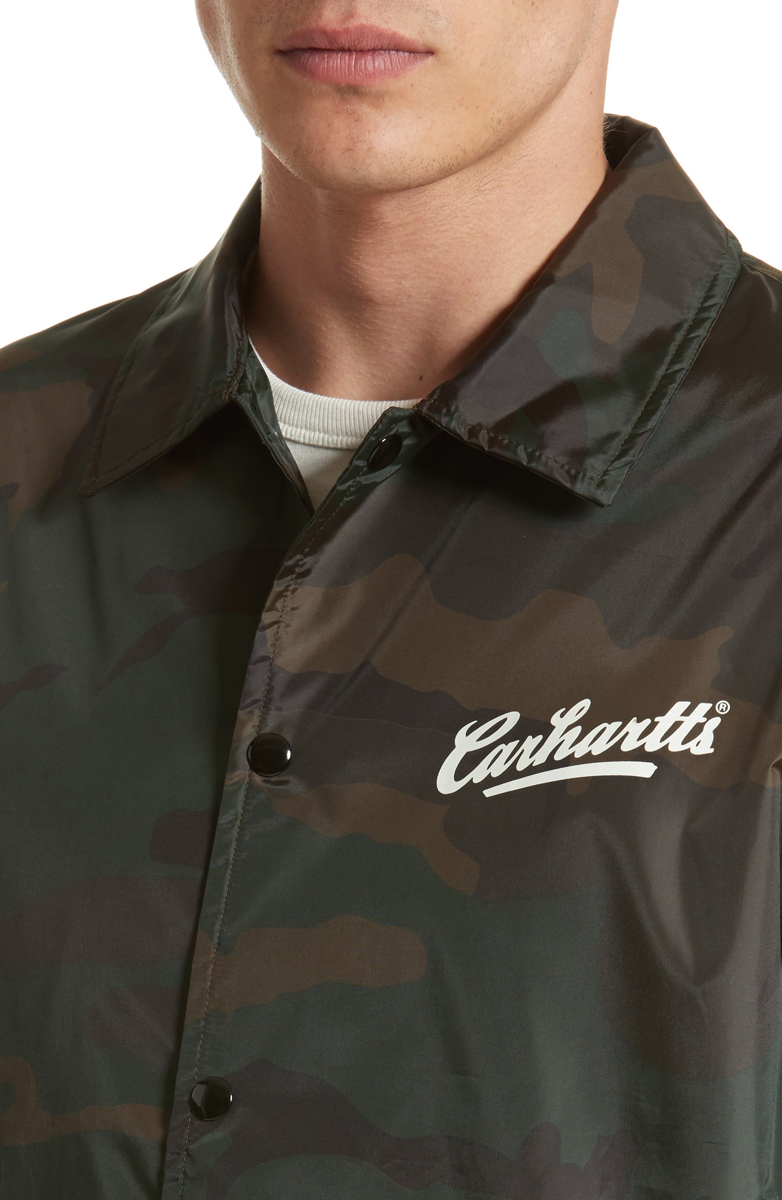 Camo Print Coach Jacket,                             Alternate thumbnail 4, color,                             Camo Combat Green/White