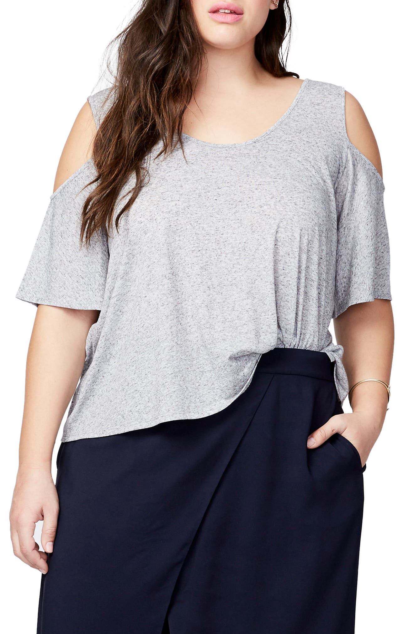 Cold Shoulder Bell Top,                             Main thumbnail 1, color,                             Heather Grey