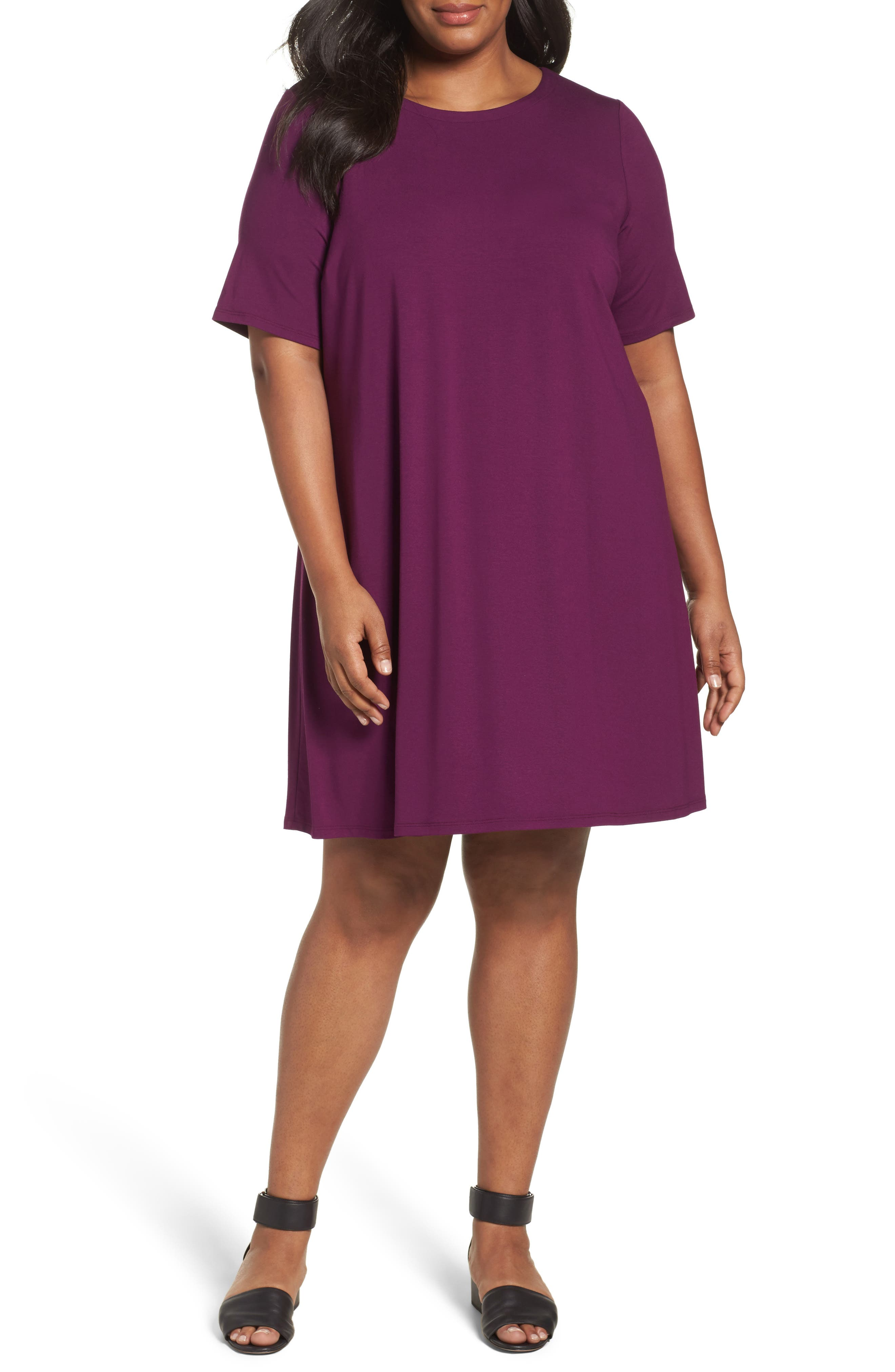 Main Image - Eileen Fisher Stretch Jersey Shift Dress (Plus Size)