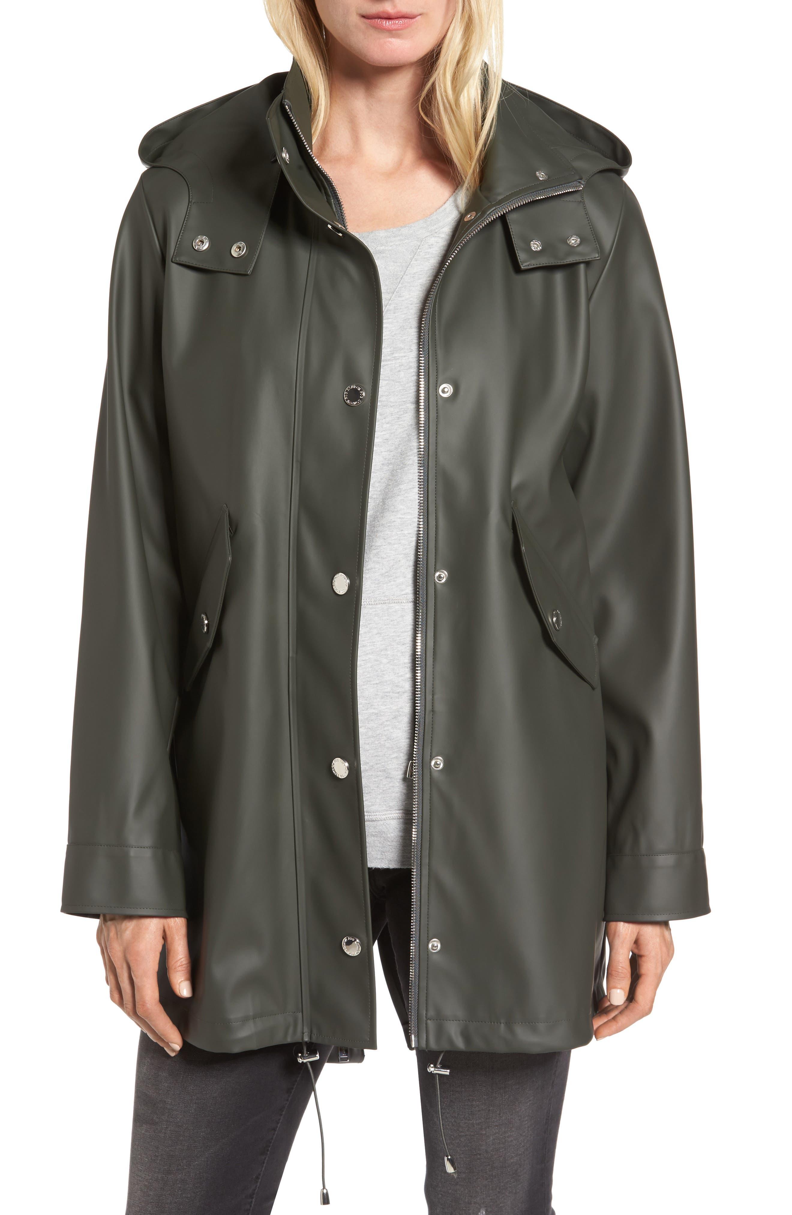 Hooded Rain Slicker,                         Main,                         color, Olive