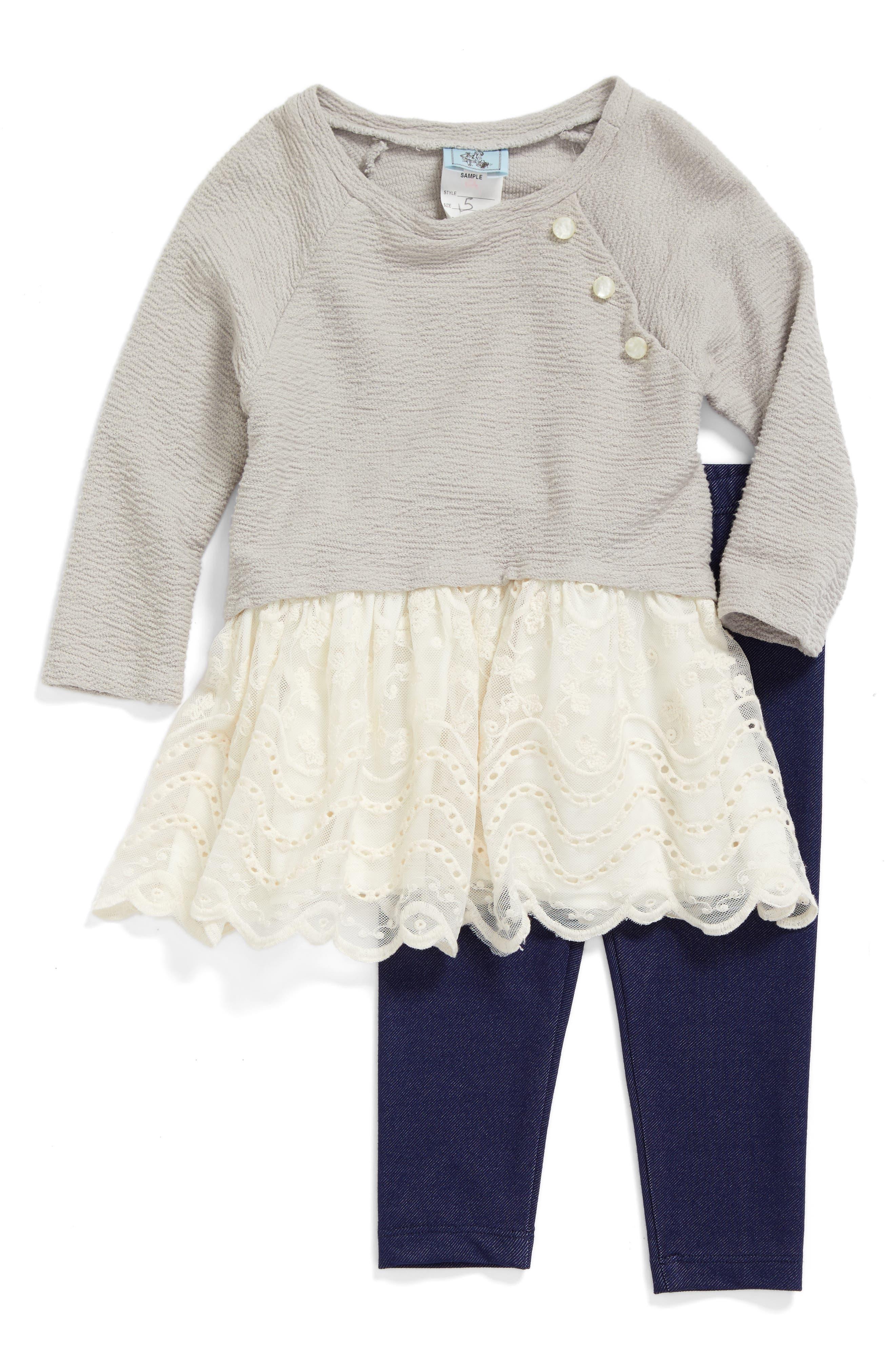Lace Peplum Top & Leggings Set,                             Main thumbnail 1, color,                             Light Grey