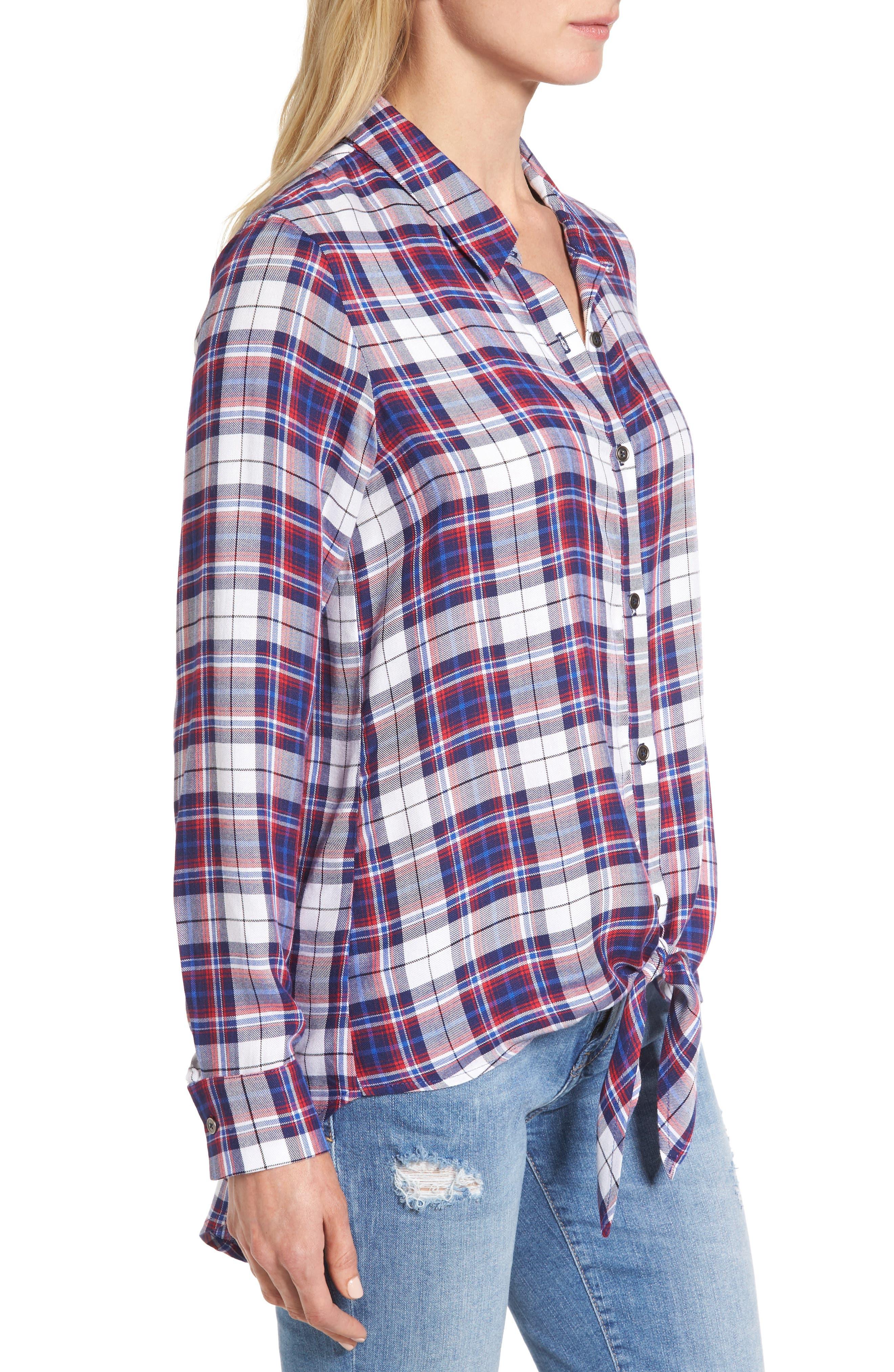 Tie Front Plaid Shirt,                             Alternate thumbnail 3, color,                             Burgundy/ Black Plaid