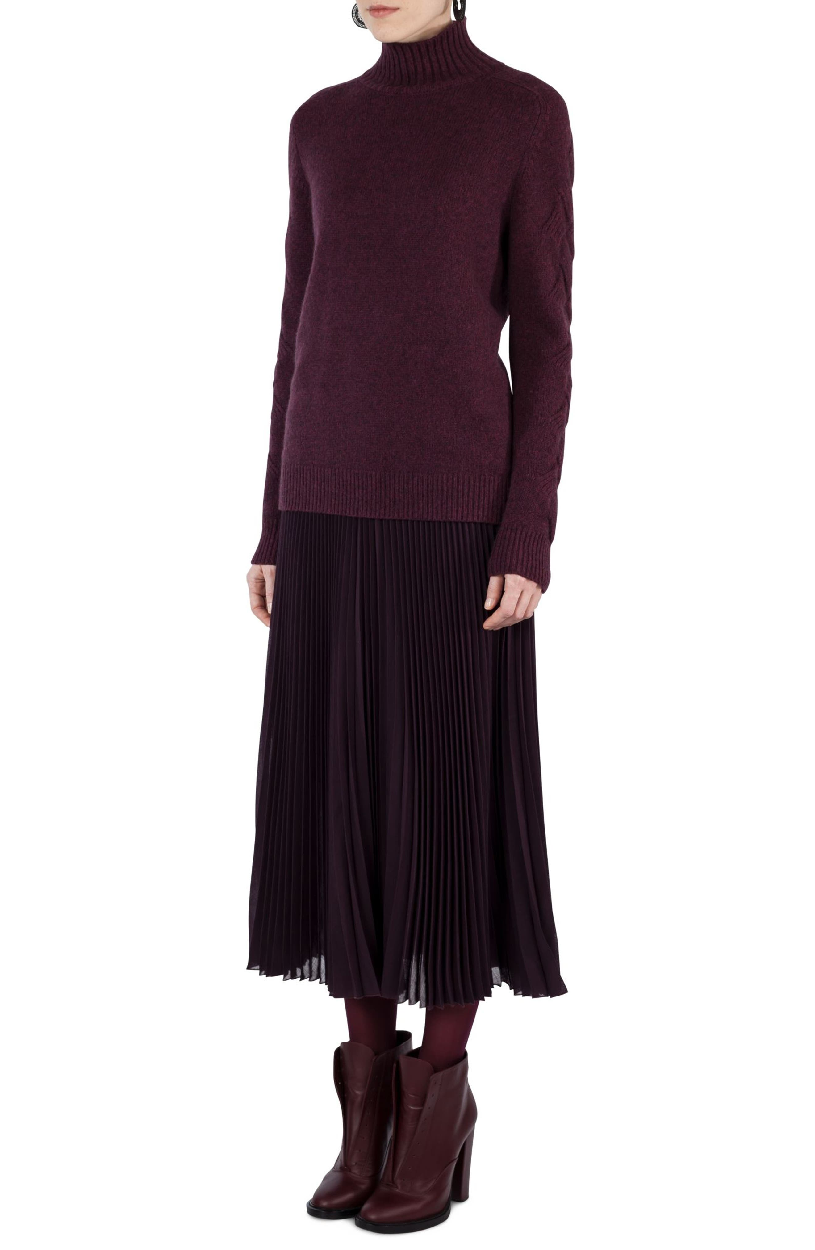 Plissé Midi Skirt,                             Alternate thumbnail 3, color,                             Wine