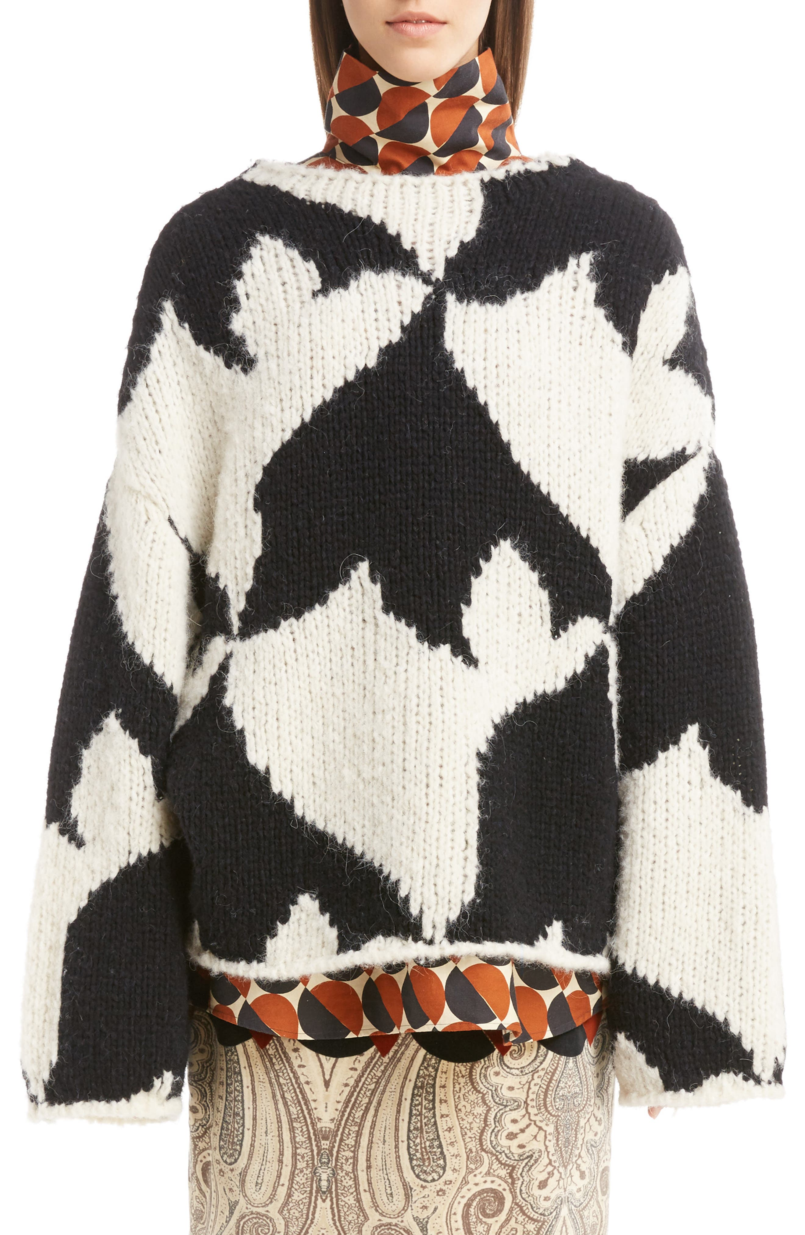 Geo Intarsia Wool Blend Sweater,                             Main thumbnail 1, color,                             Ecru