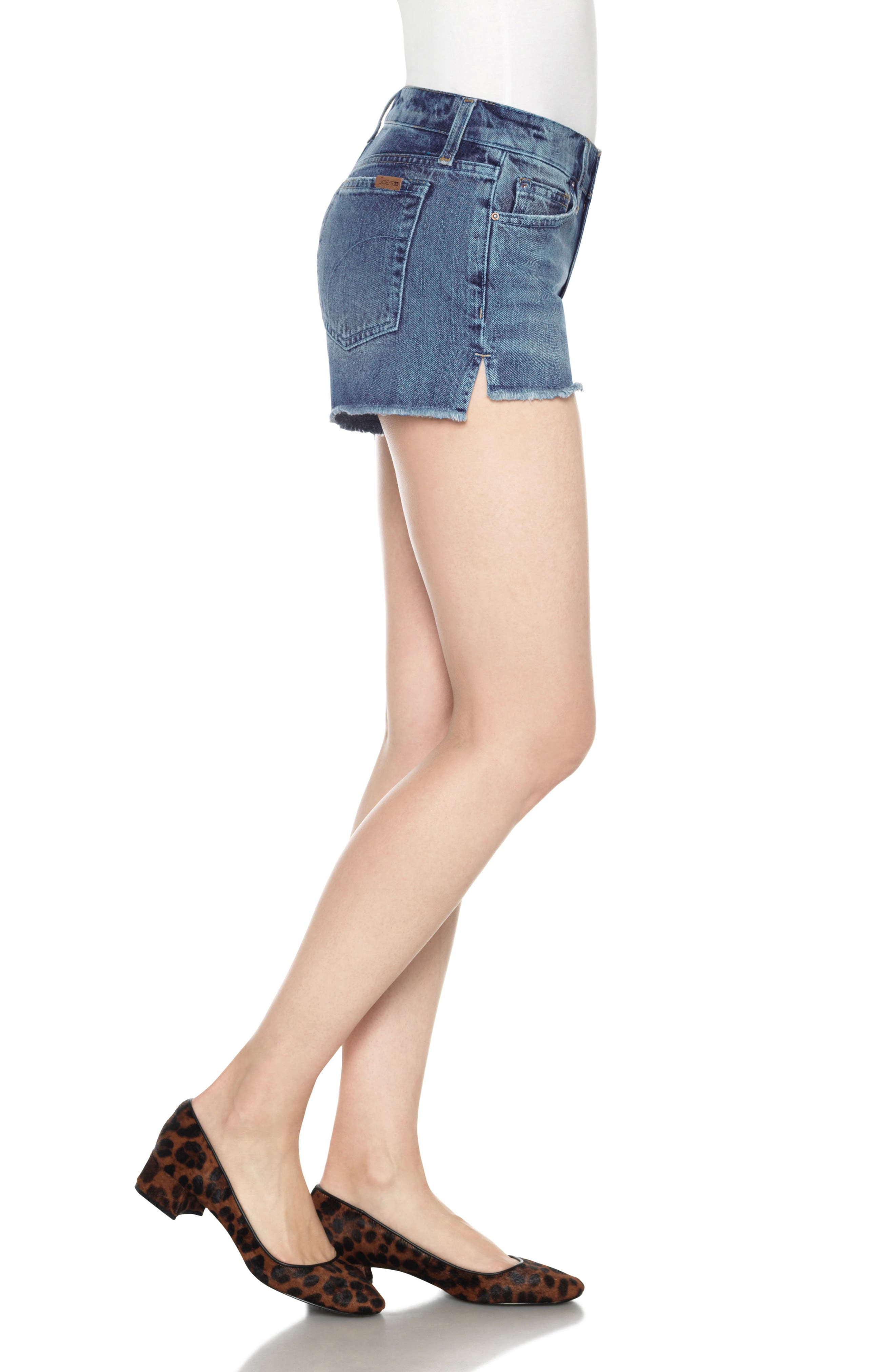 Collector's High/Low Denim Shorts,                             Alternate thumbnail 4, color,                             Yoselyn