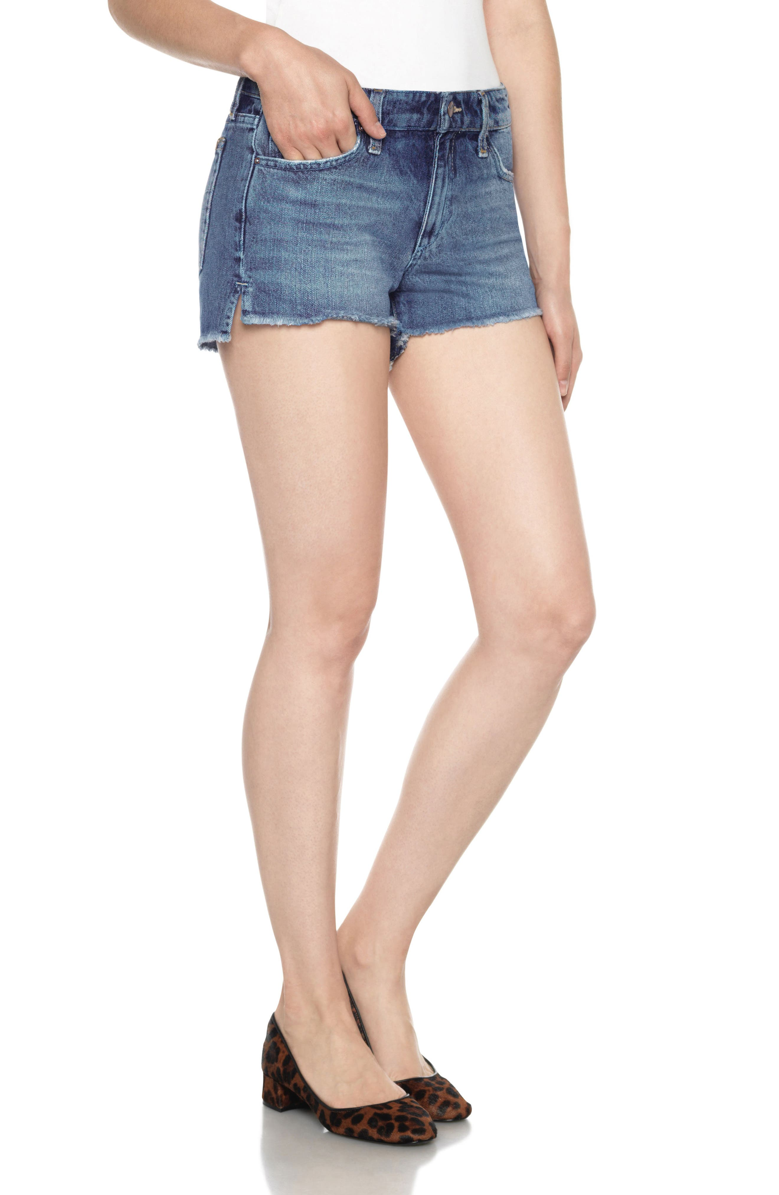 Collector's High/Low Denim Shorts,                             Main thumbnail 1, color,                             Yoselyn