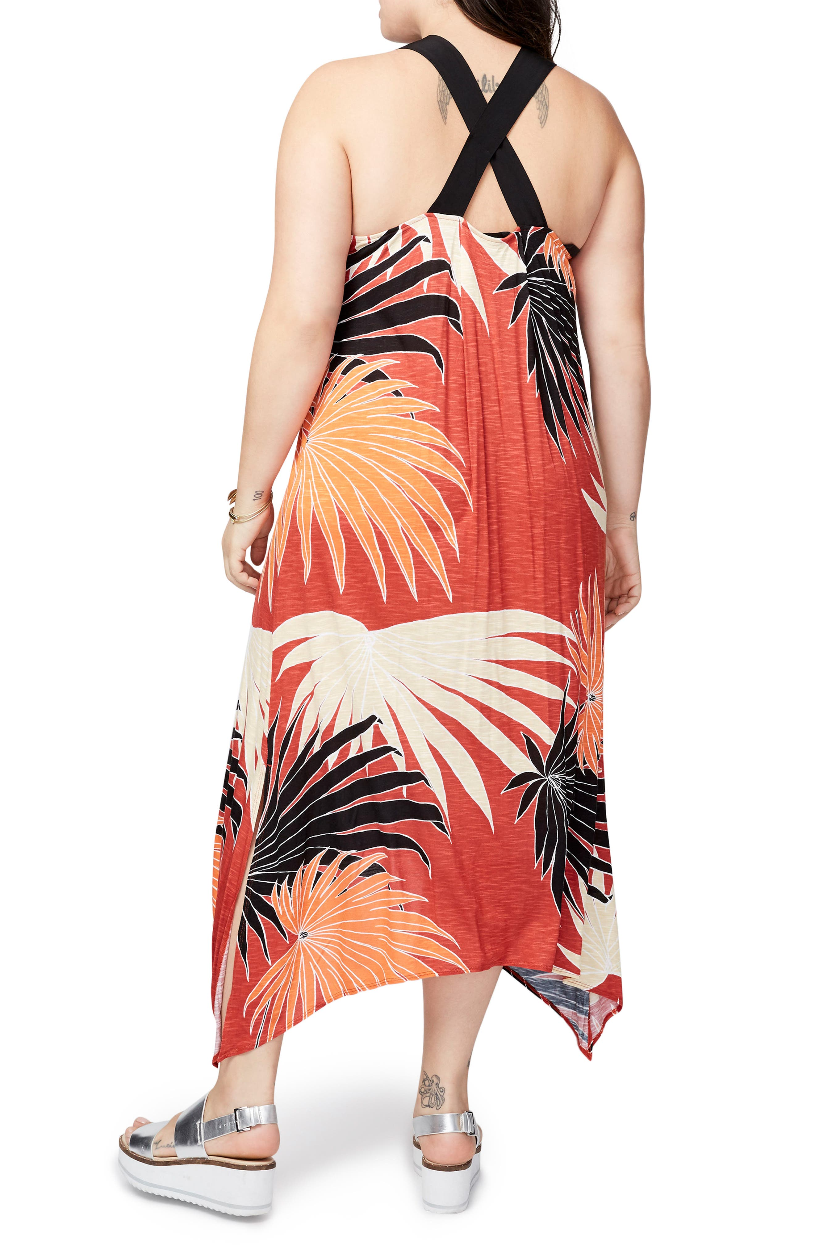 Palm Print Easy Maxi Dress,                             Alternate thumbnail 2, color,                             Lava Combo